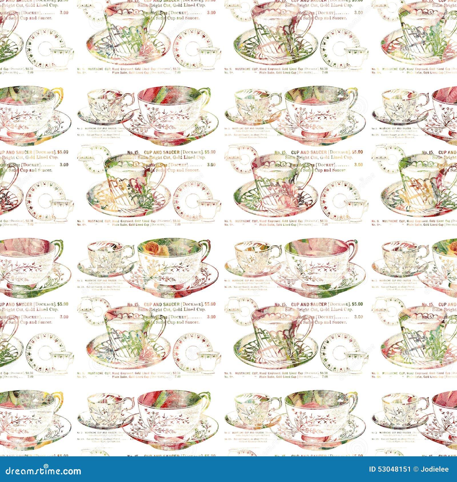 Antykwarskiej teacup powtórki bezszwowy wzór