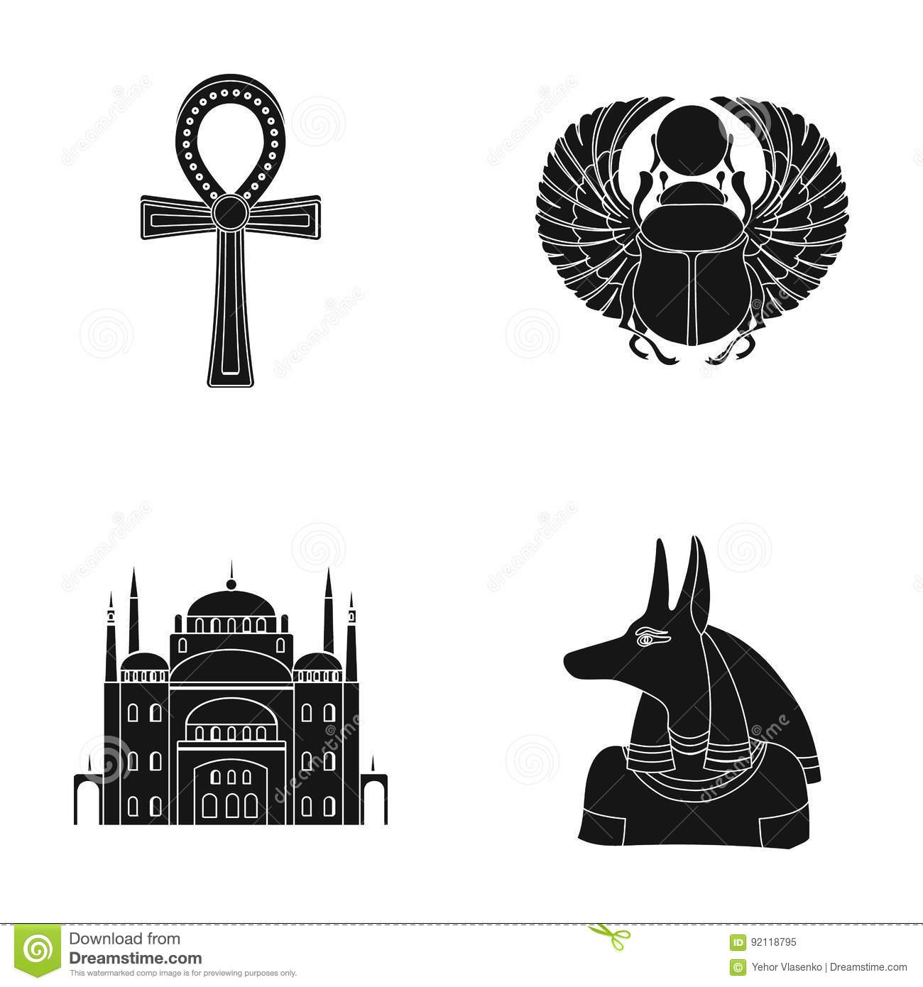 Anubis ankh cairo citadel egyptian beetlecient egypt set anubis ankh cairo citadel egyptian beetlecient egypt set collection icons in black style vector symbol stock buycottarizona