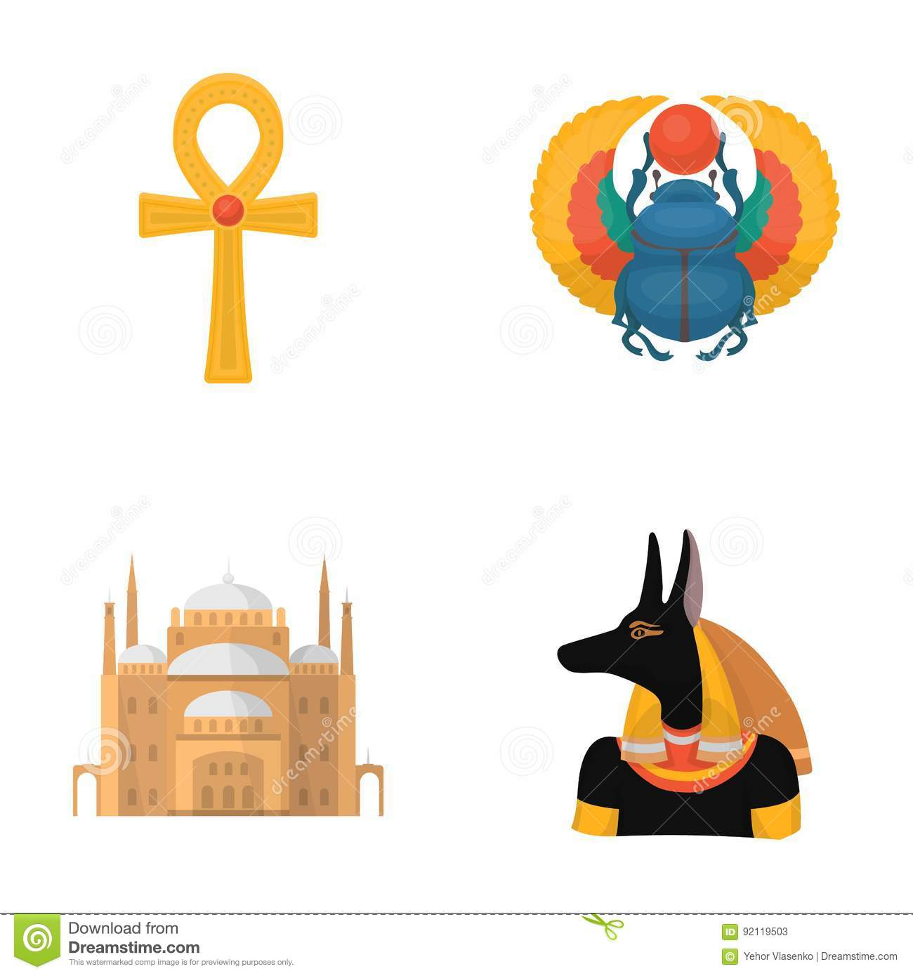 Anubis ankh egyptian symbol light flare stock illustration anubis ankh cairo citadel egyptian beetlecient egypt set collection icons in buycottarizona