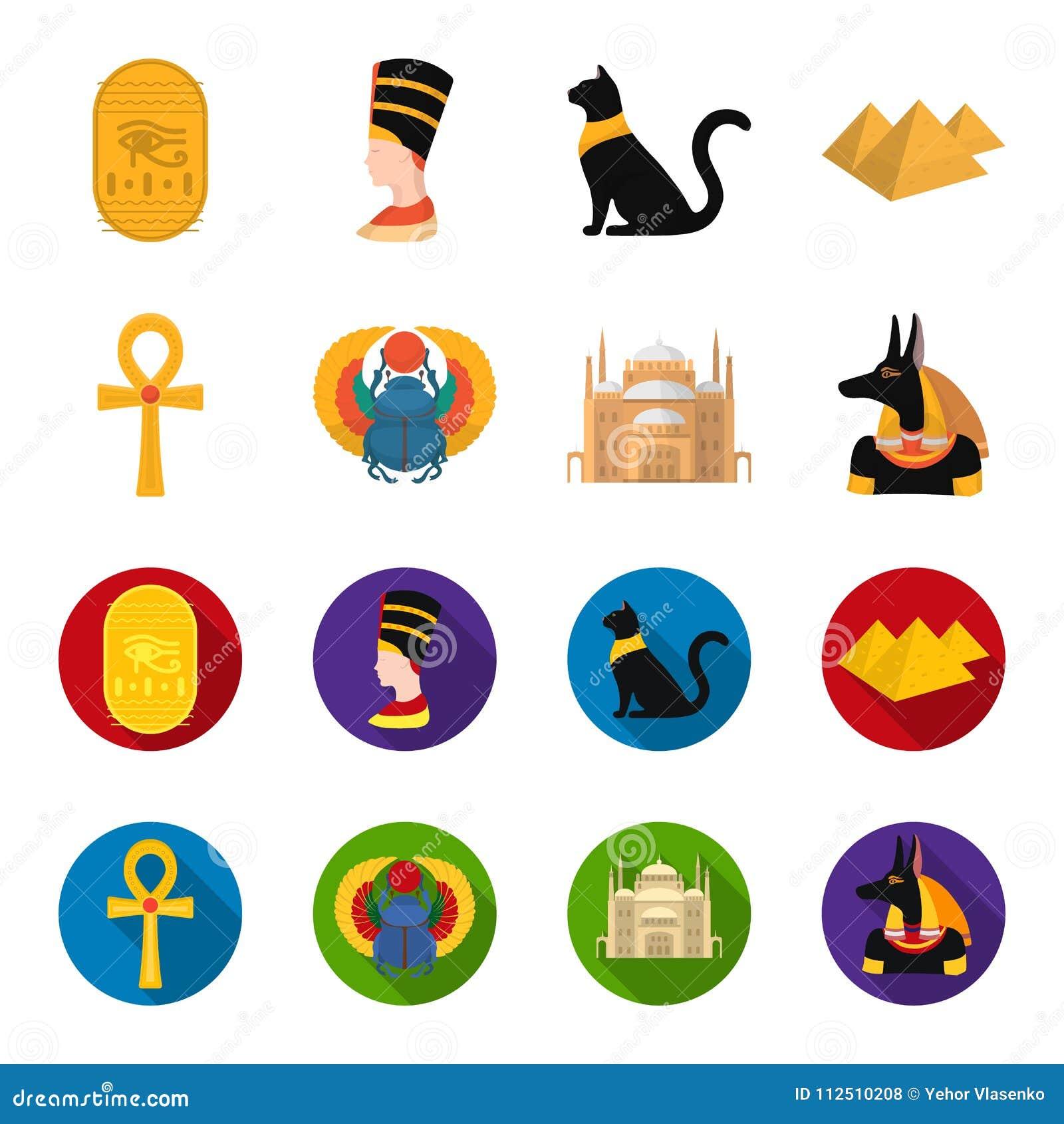Anubis, Ankh, Kair cytadela, Egipska ściga Antyczne Egipt ustalone inkasowe ikony w kreskówce, mieszkanie stylowy wektorowy symbo