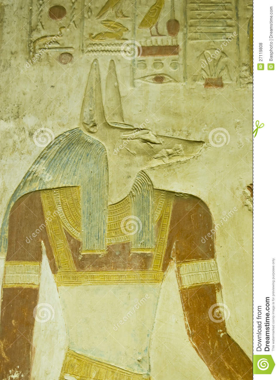 Anubis carving abydos temple royalty free stock photos
