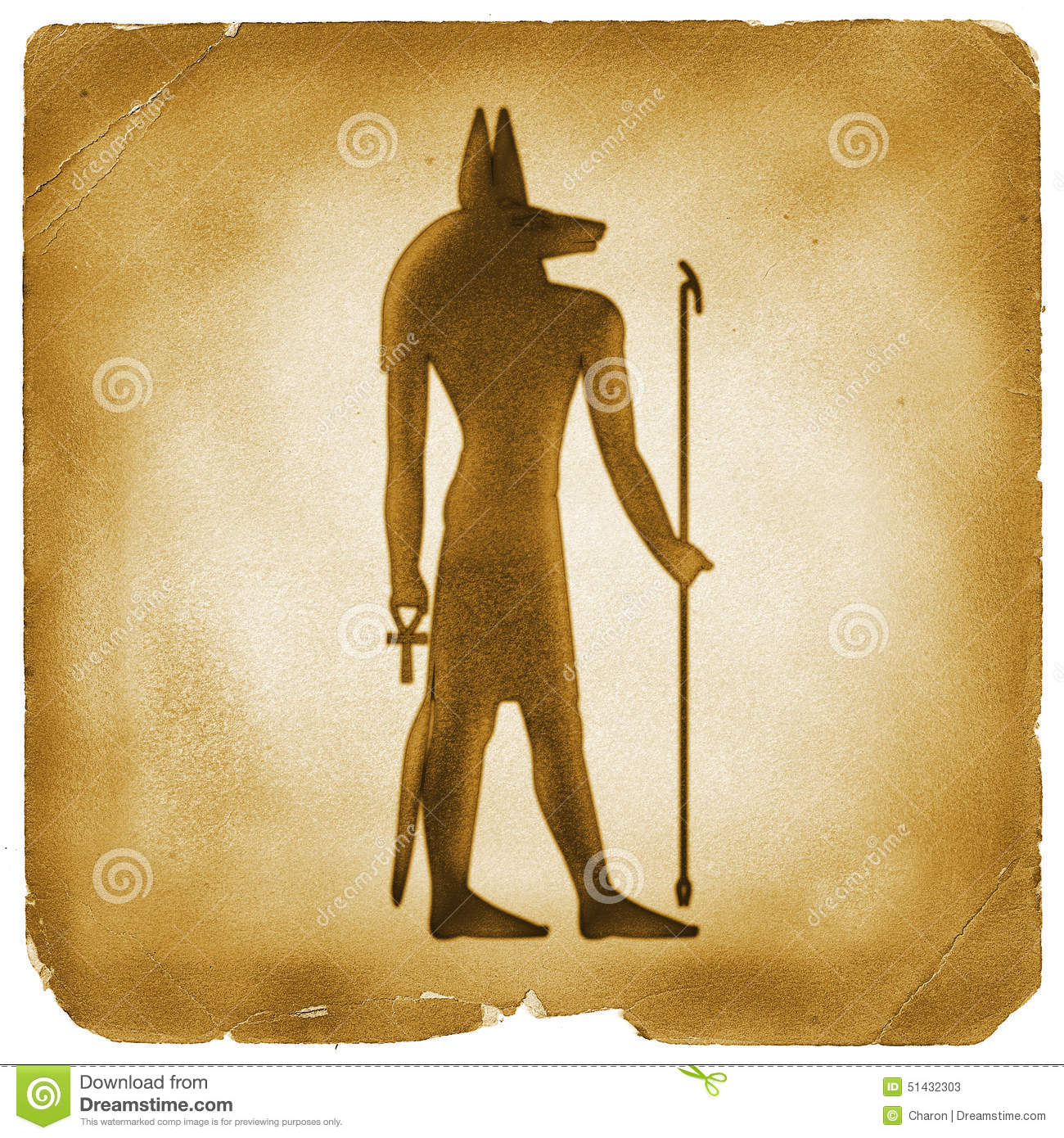 Anubis Egyptian Symbol Old Paper Stock Illustration