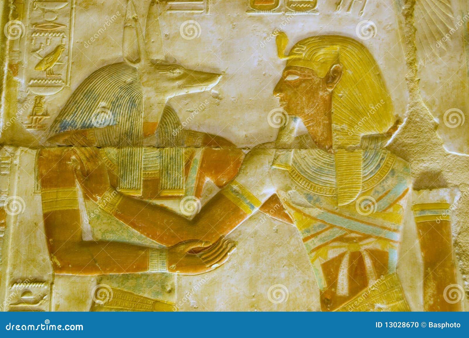 Anubis en de gravure van Pharoah Seti