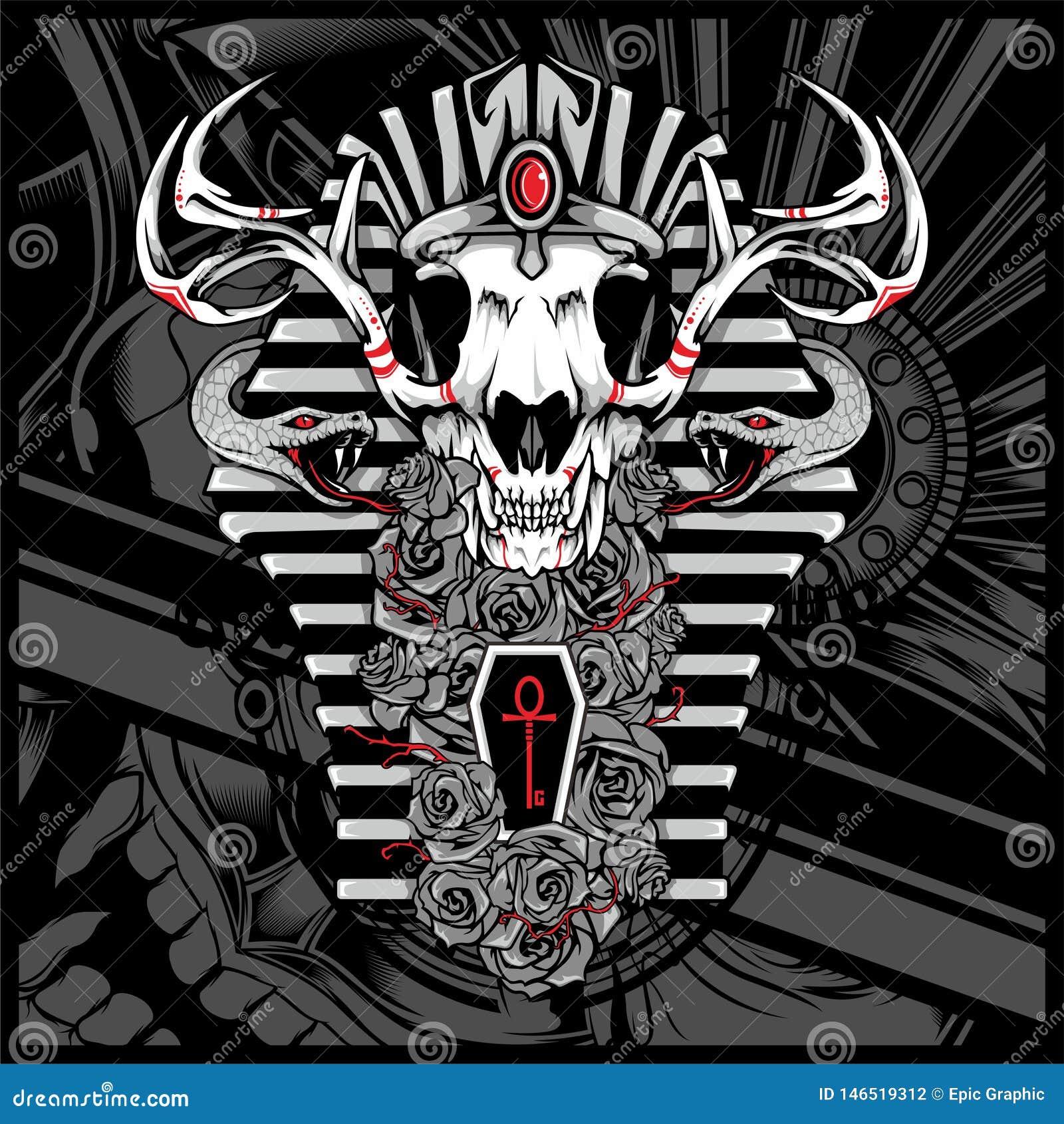 Anubis-Gott der Toten, mit Schlange - Vektor