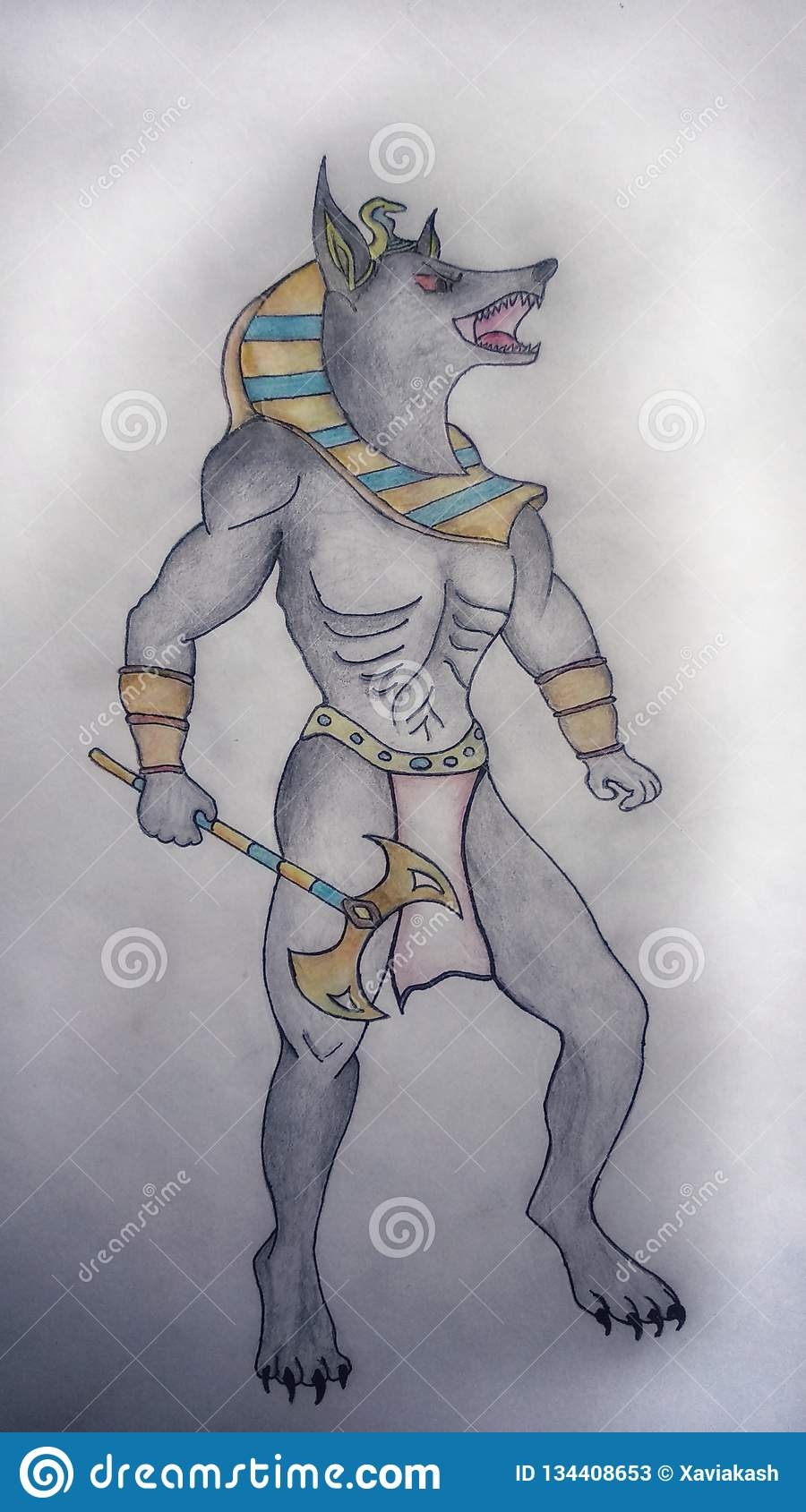 Anubis hand drawing