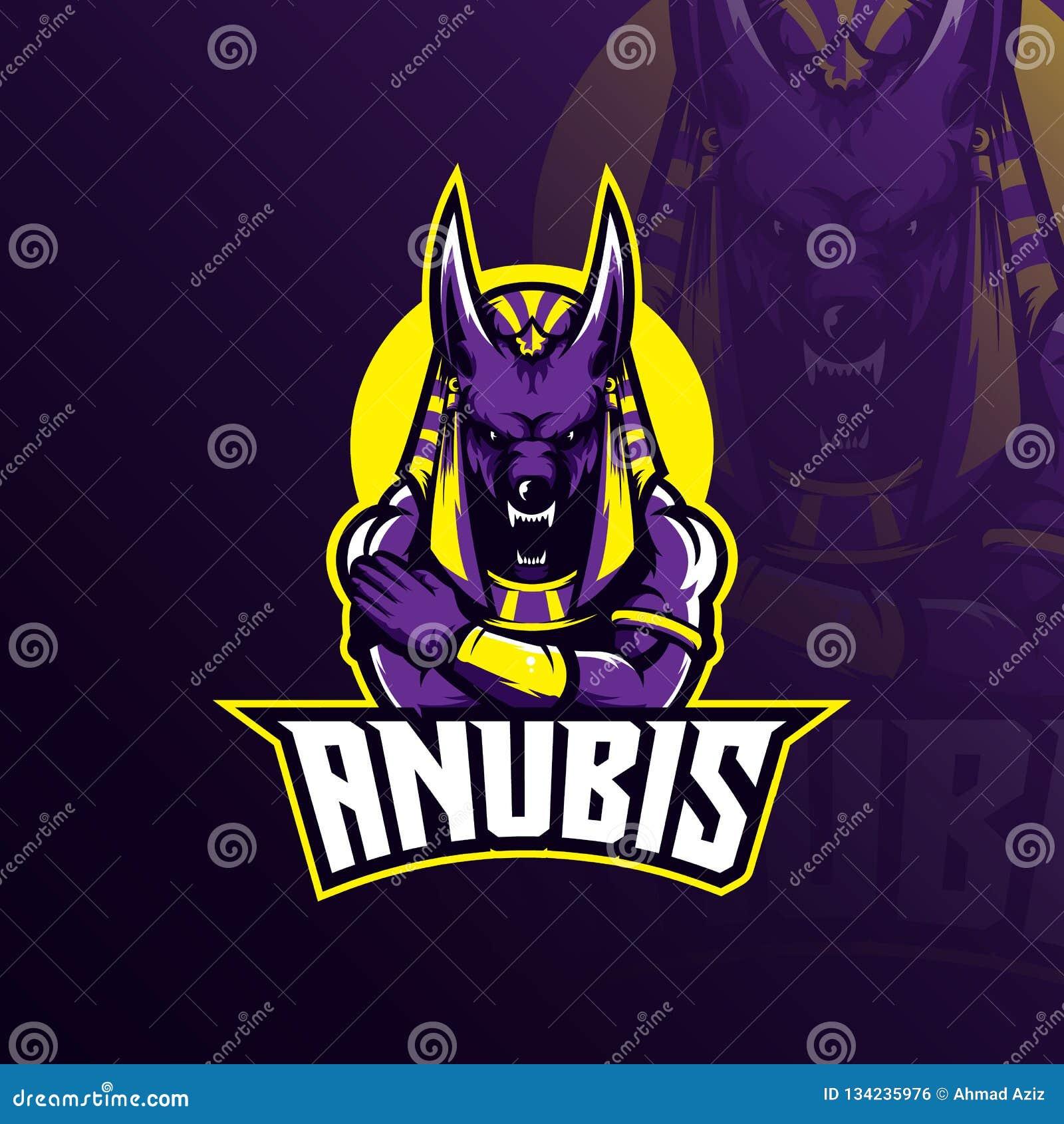 Anubis logo maskotki projekta wektor z nowożytnym ilustracyjnym pojęcie stylem dla odznaki, emblemata i tshirt druku, gniewni anu