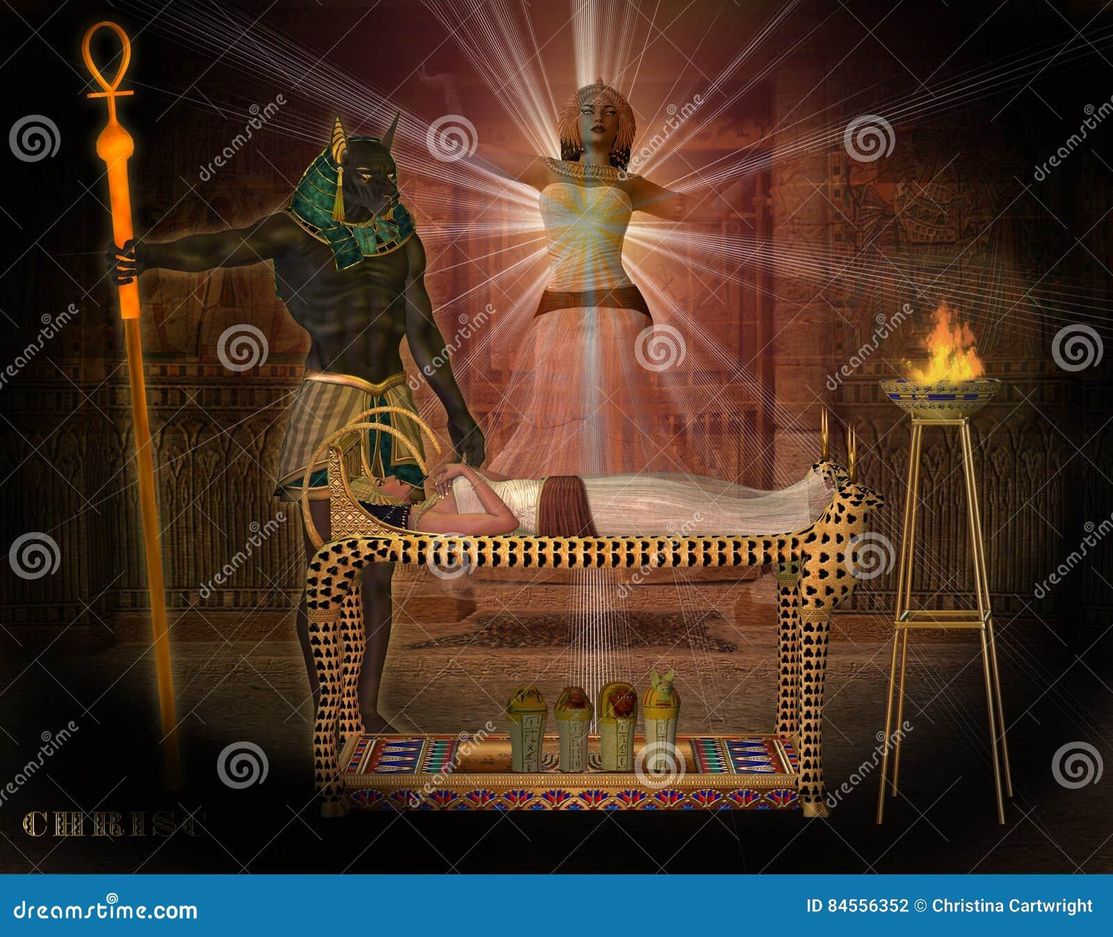 Anubis pomaga królowej