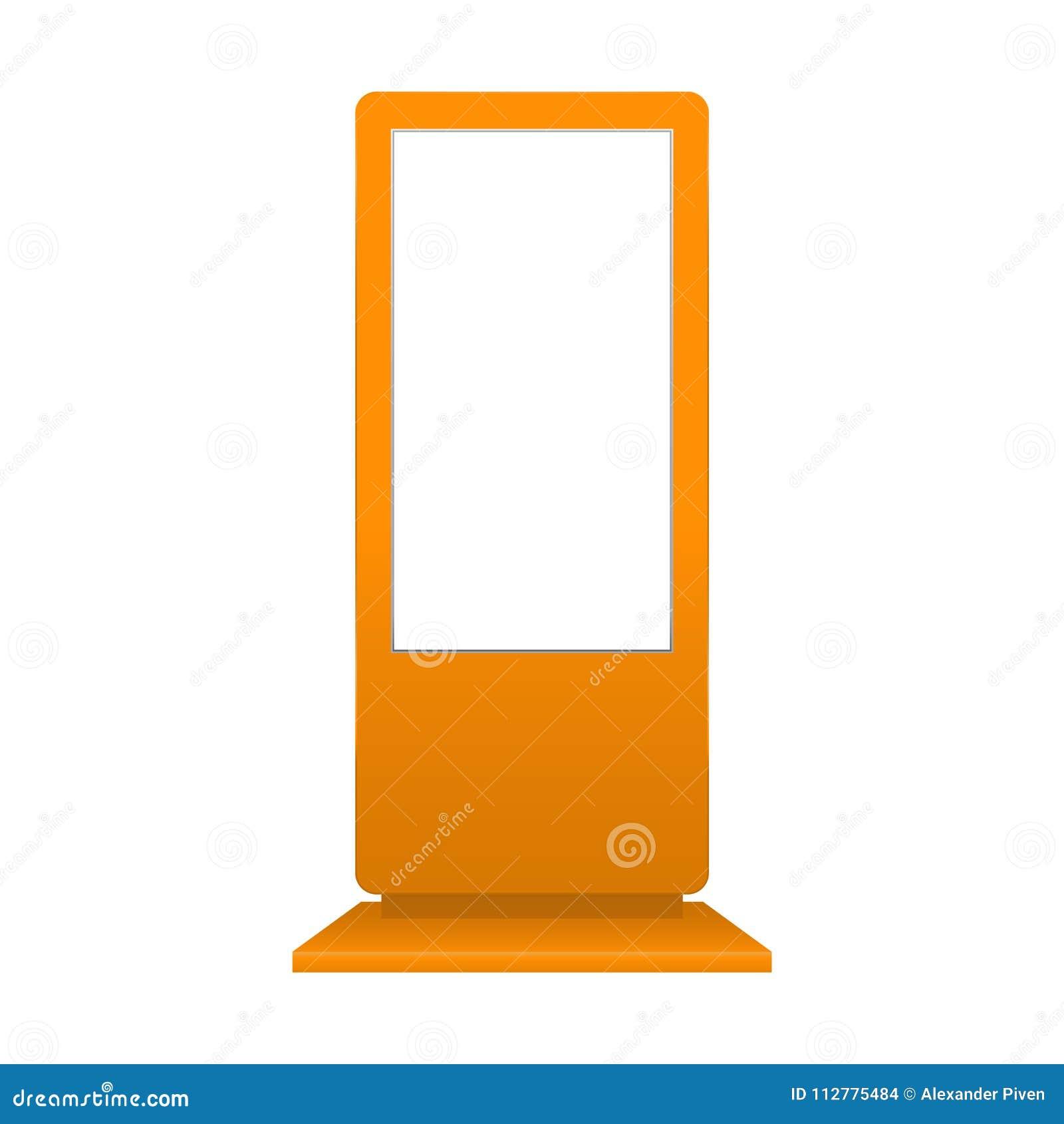 Anunciando o modelo digital do signage isolado no fundo branco Molde do suporte dos multimédios Suporte Bann da probabilidade de