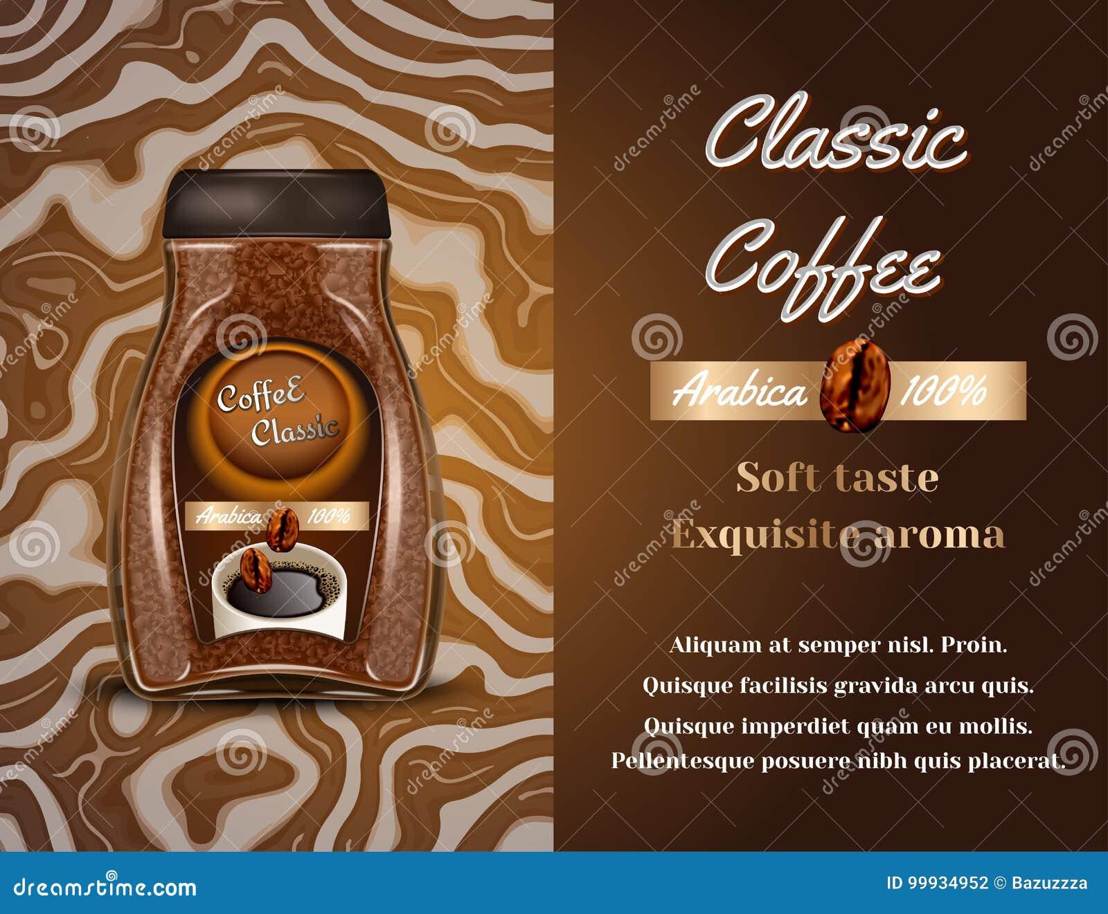 Anuncio de productos del café Ilustración del vector 3d Diseño de la plantilla de la botella del café instantáneo Anuncio de la b