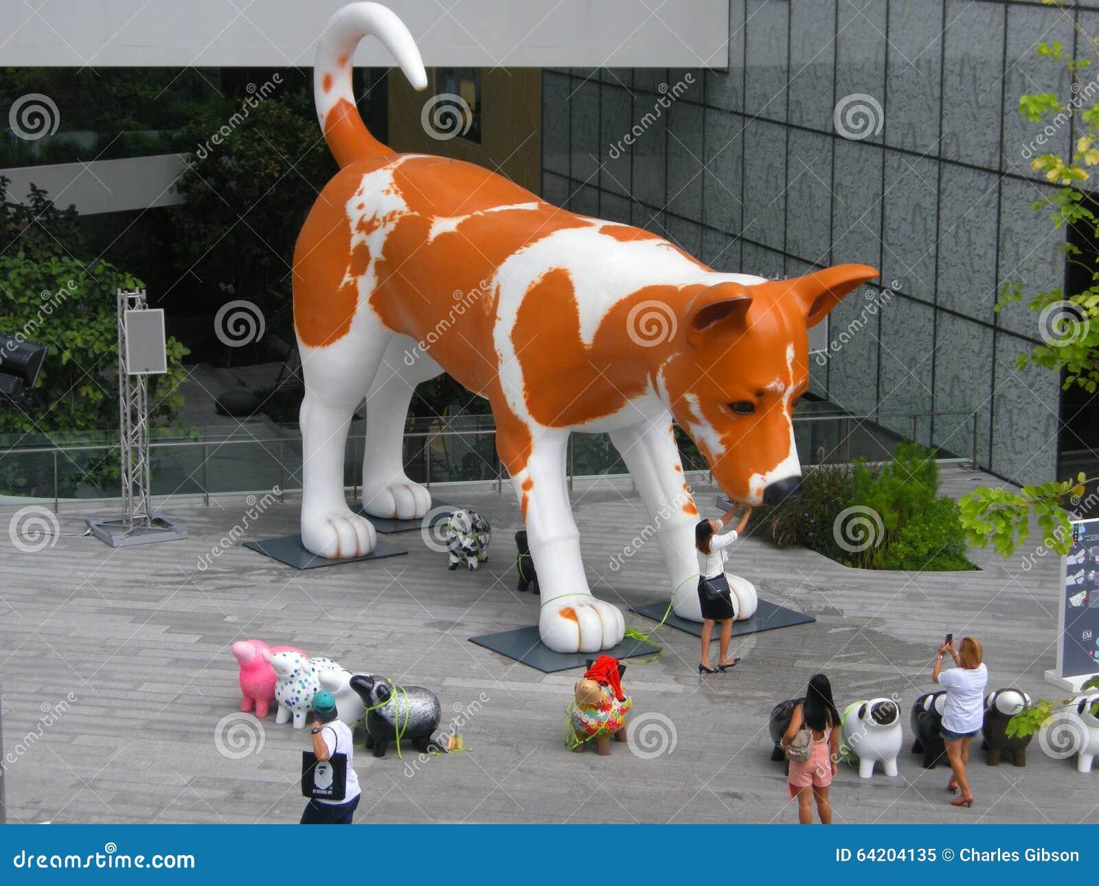 Anuncio gigante del perro, Bangkok