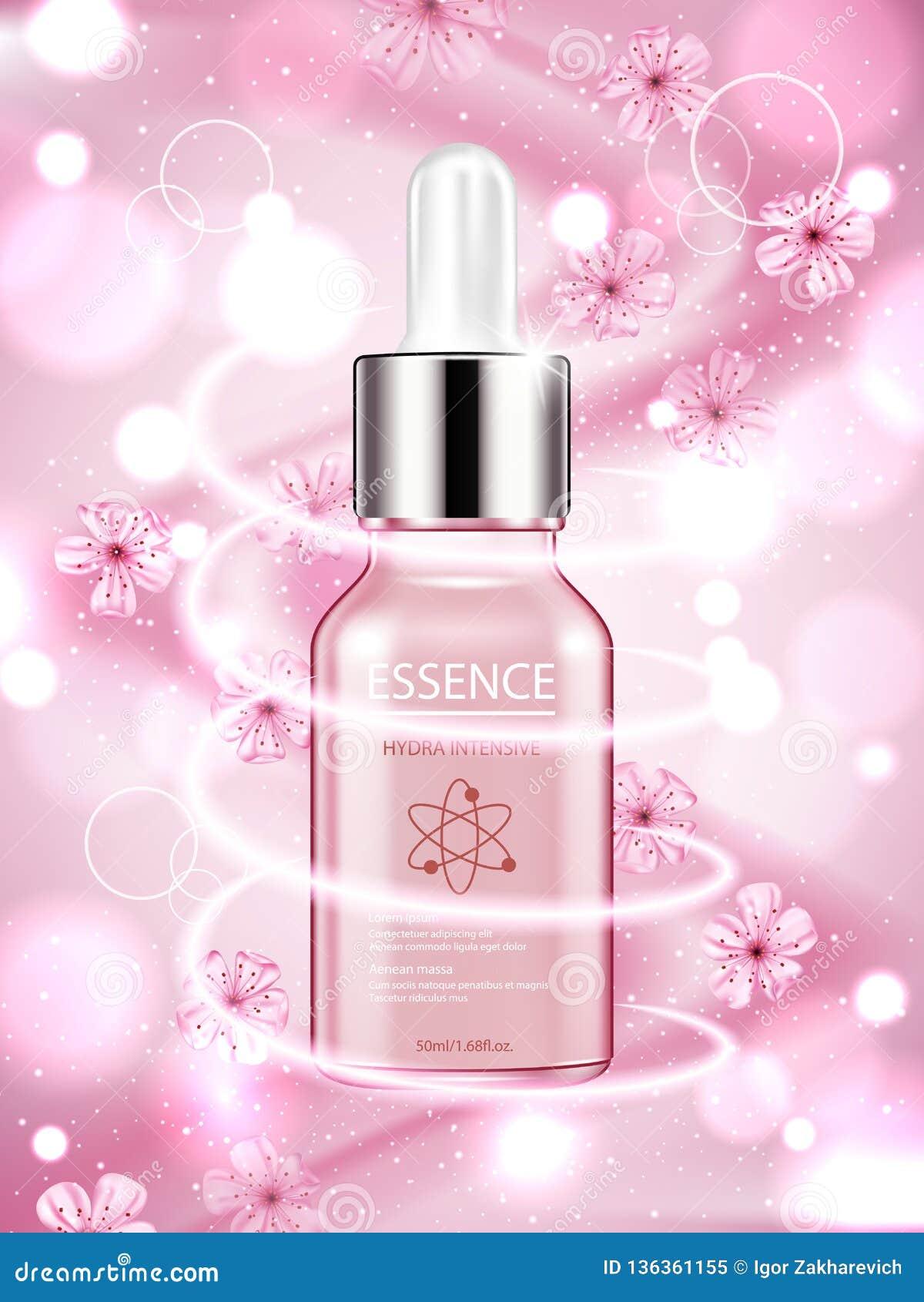 Anuncios cosméticos de Skincare, esencia de Sakura en fondo rosado del bokeh