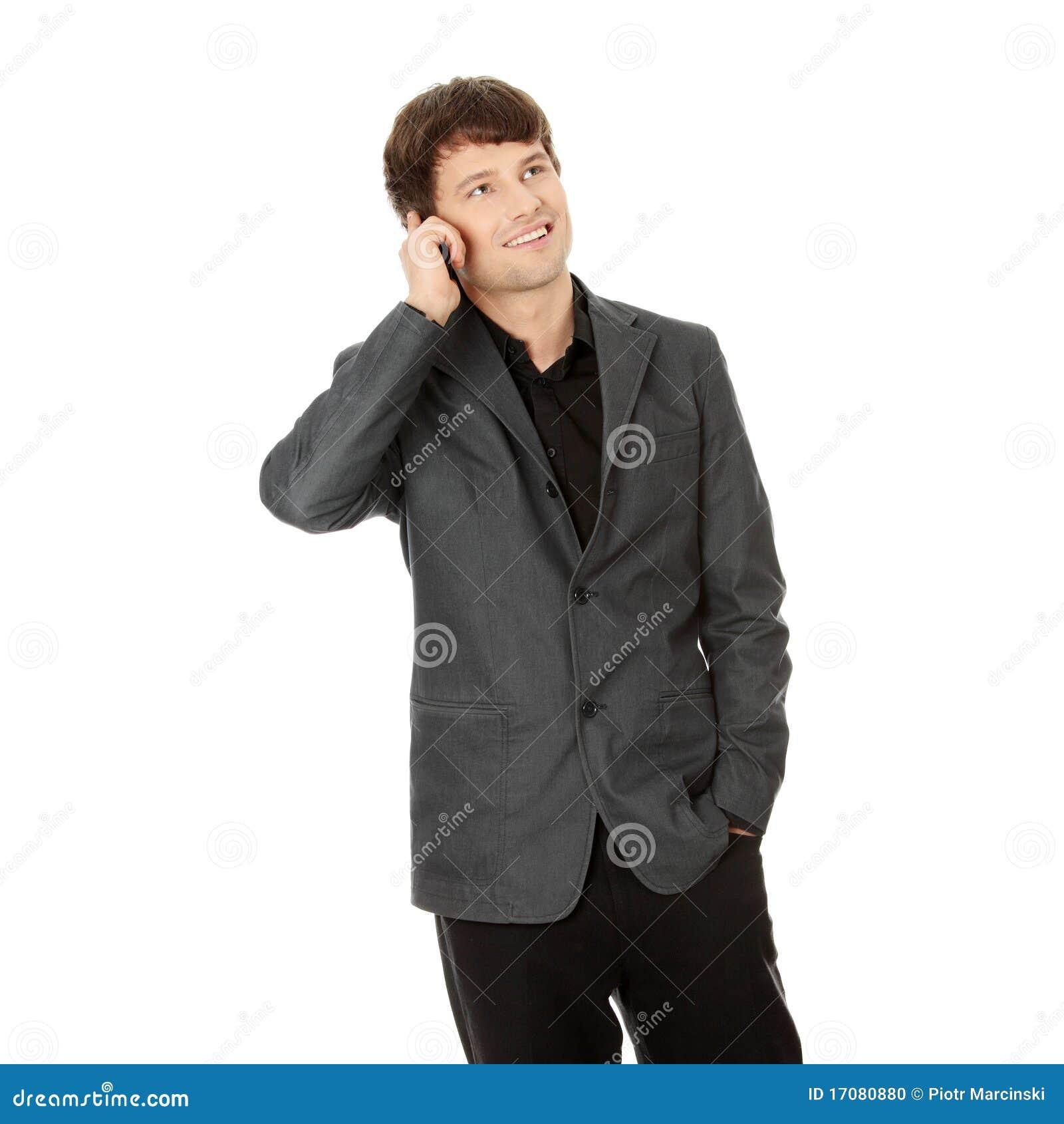 Använda för telefon för lycklig man för affär mobilt