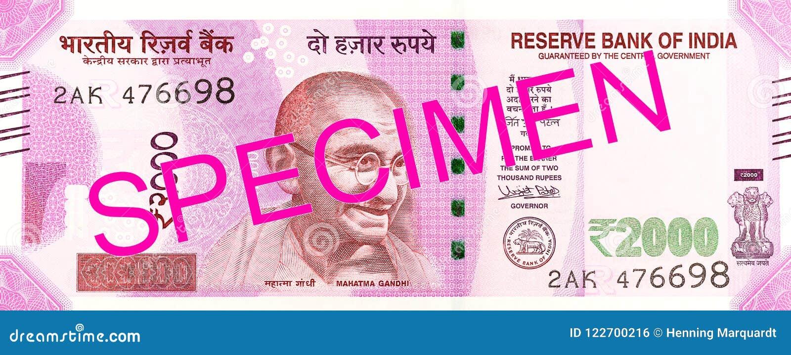 2000 anversos del billete de banco de la rupia india