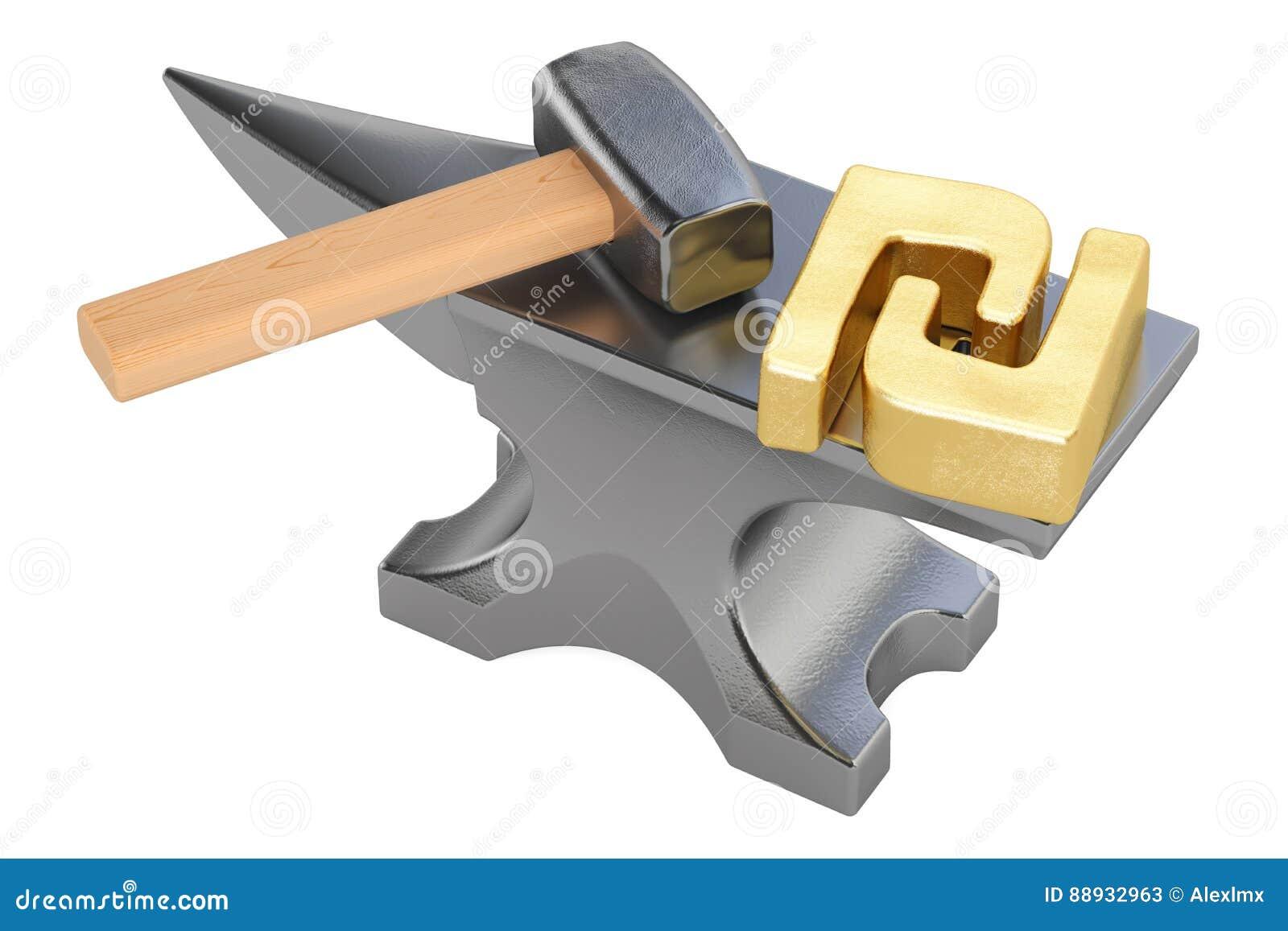 Anvil With Gold Shekel Symbol 3d Rendering Stock Illustration
