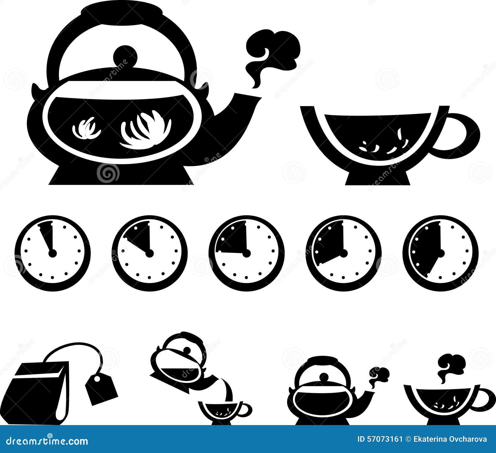 Anweisungen für die Herstellung des Tees, Vektorikonen