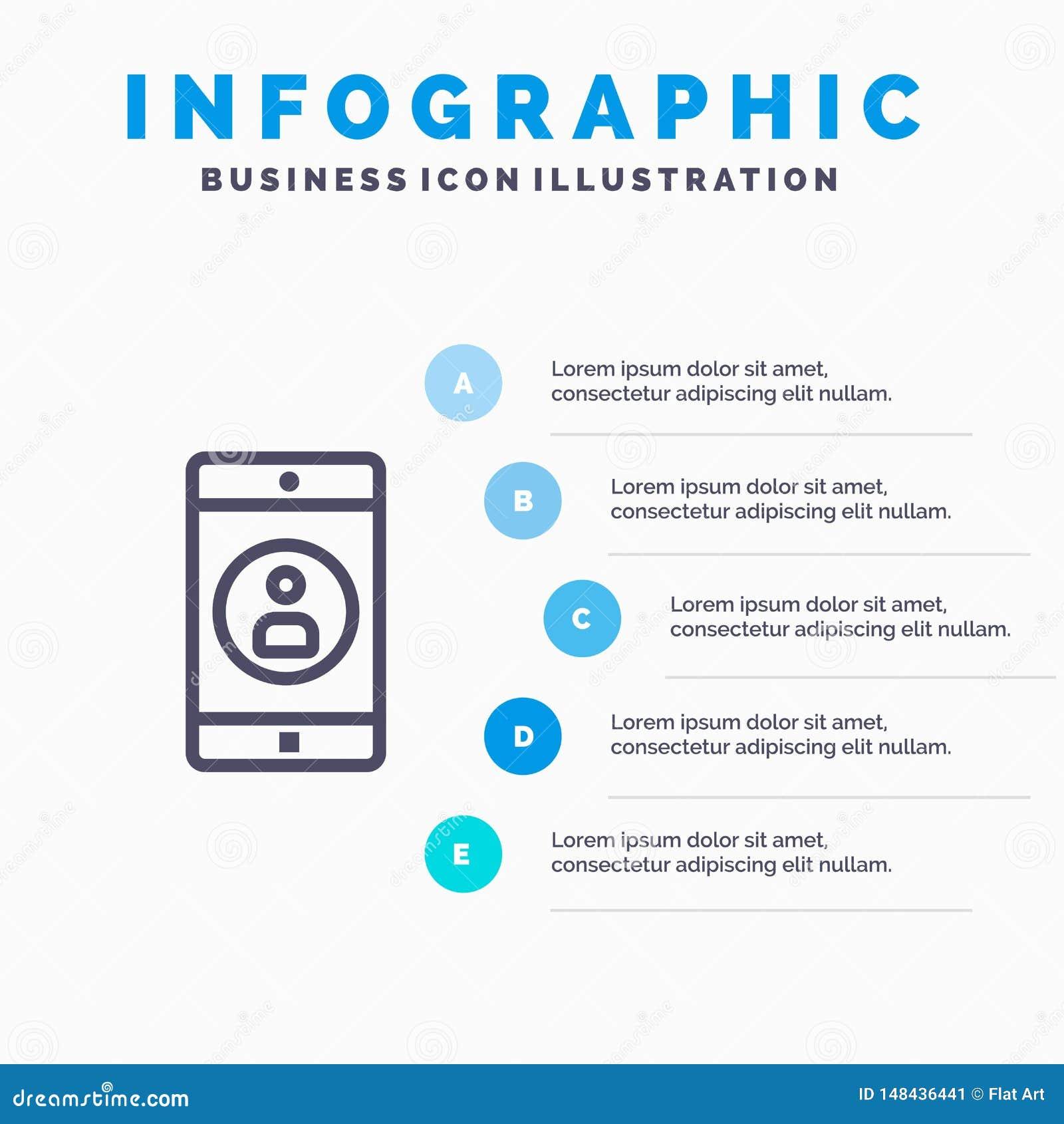 Anwendung, Mobile, bewegliche Anwendung, Profil-Linie Ikone mit Hintergrund infographics Darstellung mit 5 Schritten