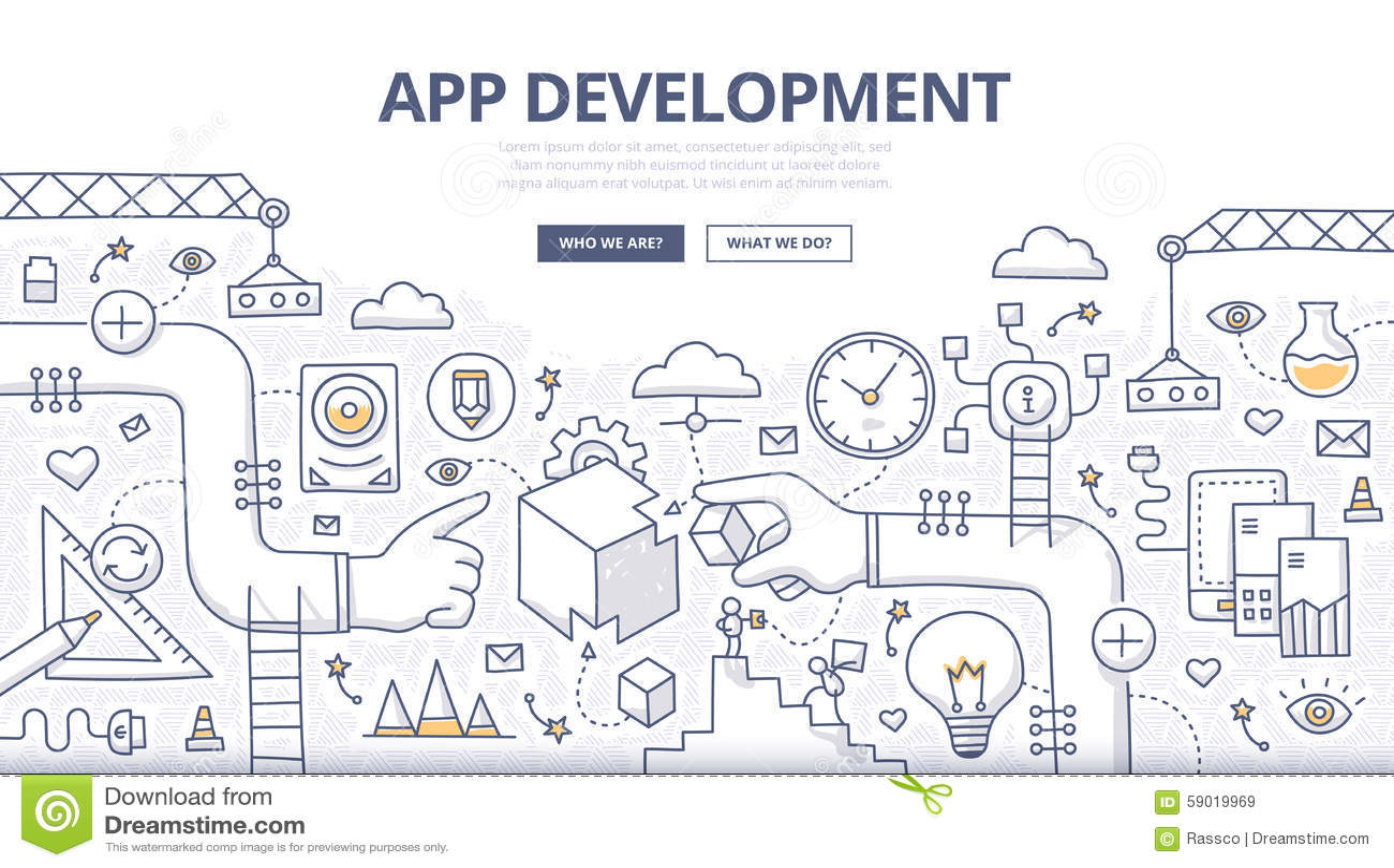 Anwendungsentwicklungs-Gekritzel-Konzept