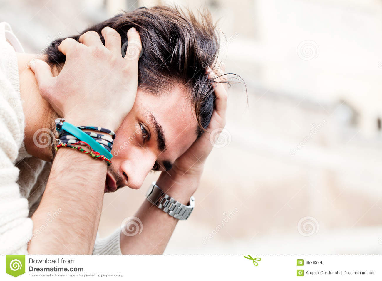 Anxiety Concept Young Man With Problems Despair Stock