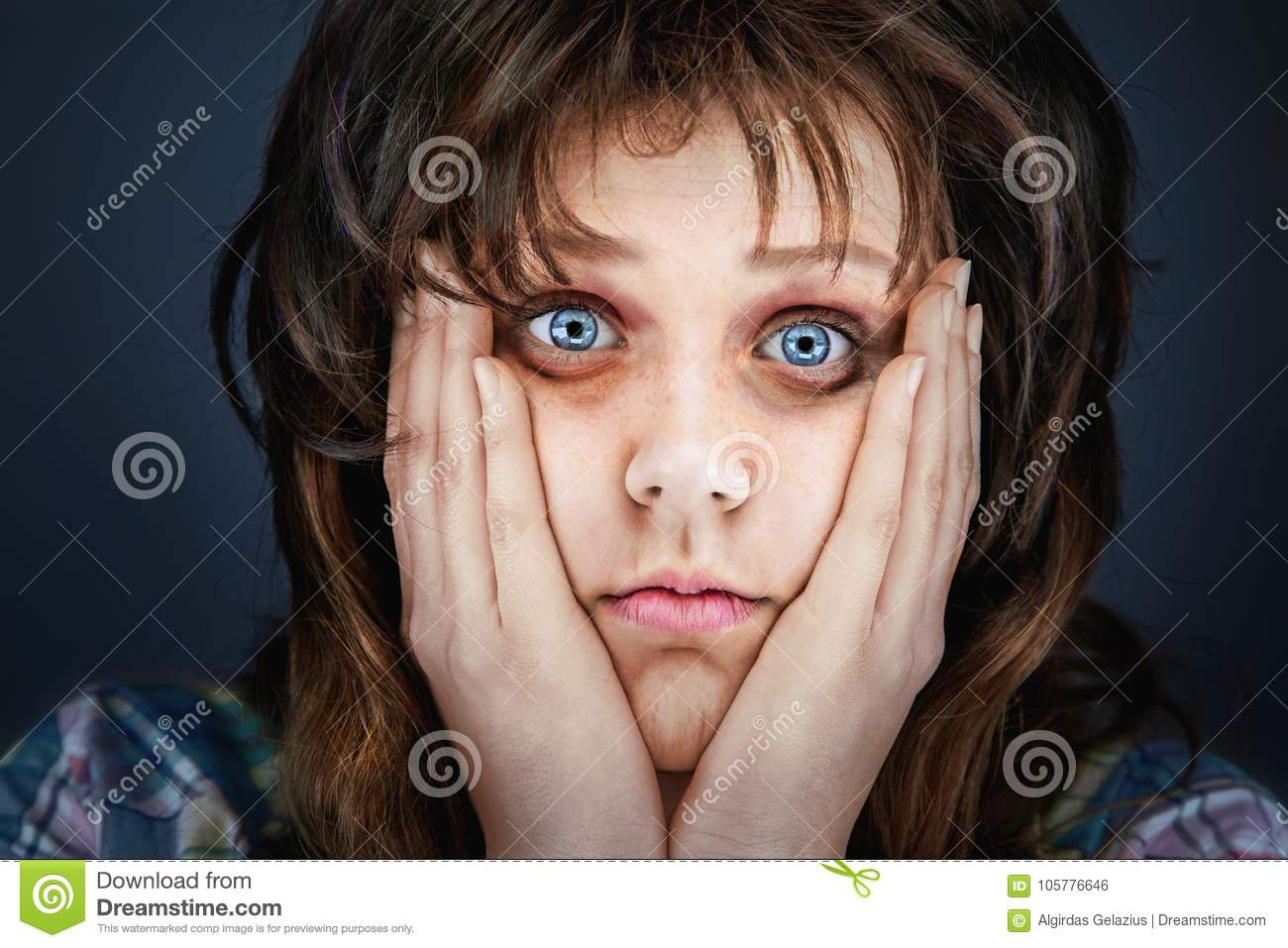 Anxious And Tired Face Of An Ill Woman  Stock Photo - Image of