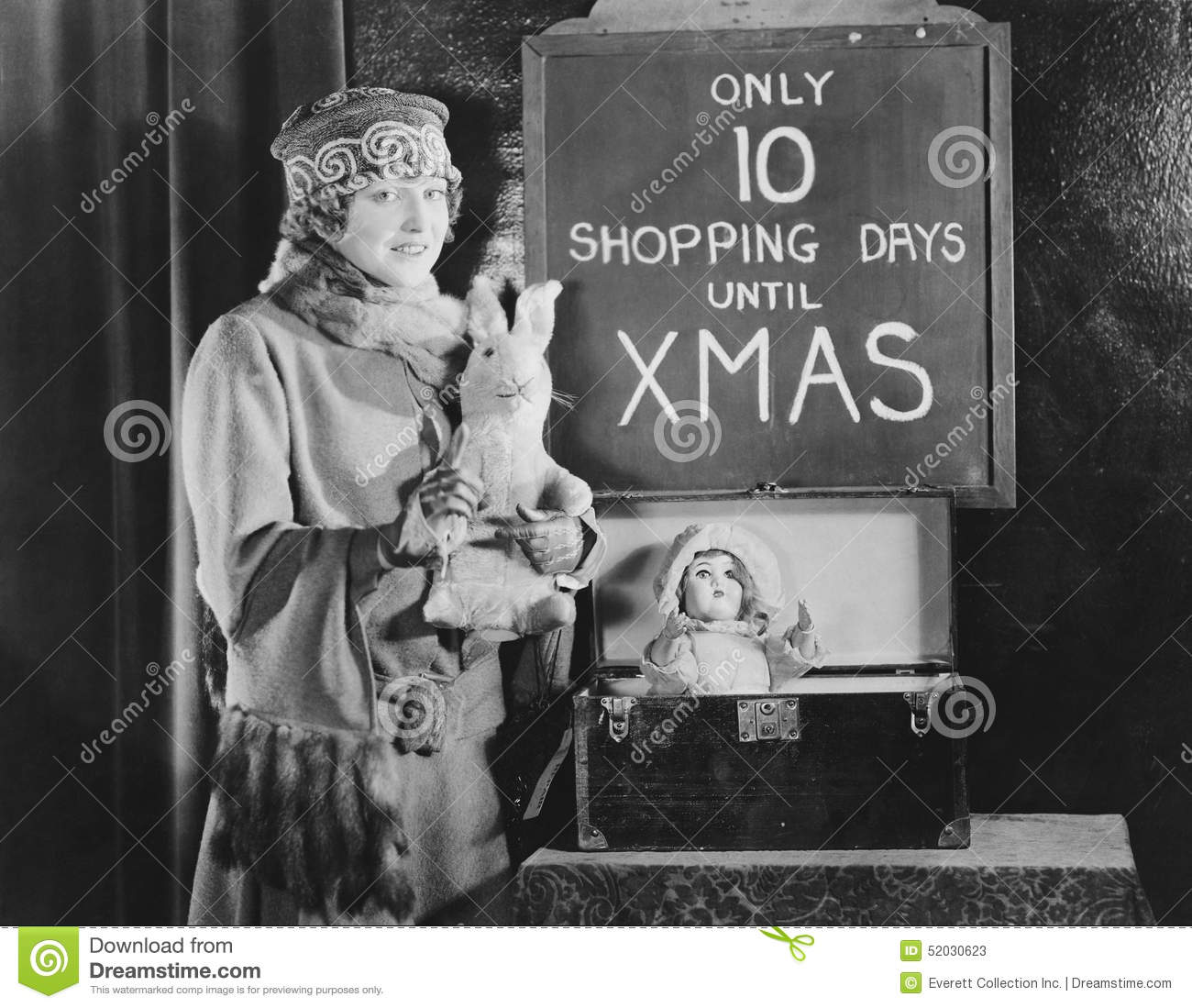Anxious Woman And Sign With Number Of Shopping Days Until Christmas ...
