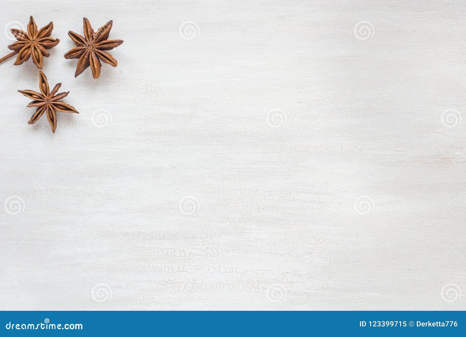 Anyż gwiazdy na lekkim tle Fragrant pikantność gwiazdowy anyż Odbitkowa przestrzeń dla teksta