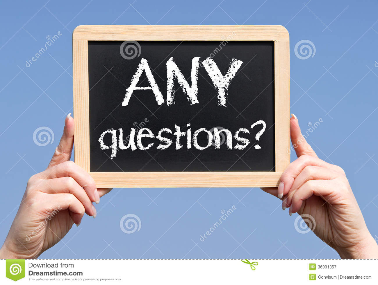 Any Questions Animation Any questions sign Royalty