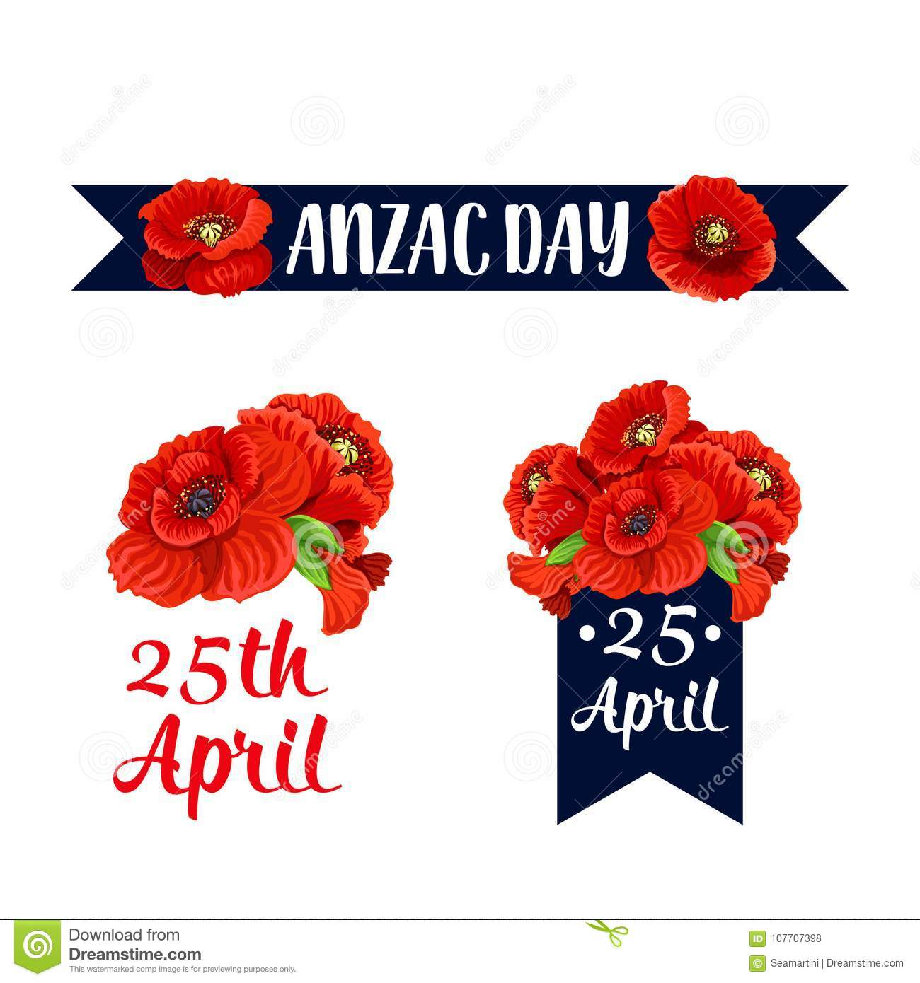 Anzac Day 25 April Red Poppy Vector Icons Stock Vector