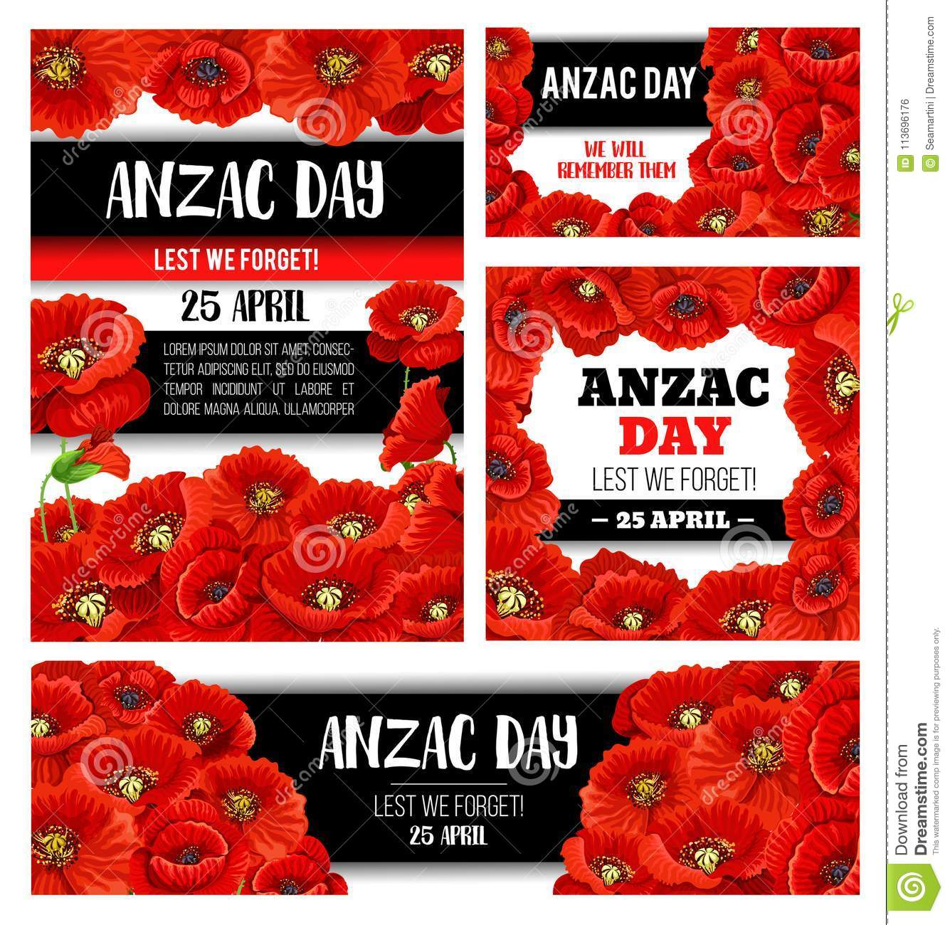 Anzac Day Memorial Banner With Red Poppy Flower Stock Vector