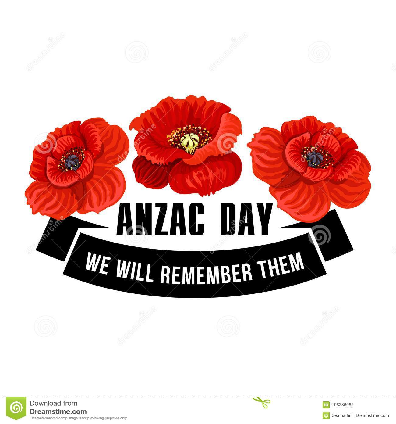 Anzac day icon of poppy flower with black ribbon stock vector anzac day icon of poppy flower with black ribbon mightylinksfo