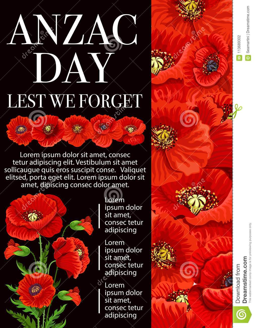 Anzac day poppy flower for lest we forget banner stock vector download anzac day poppy flower for lest we forget banner stock vector illustration of australian mightylinksfo
