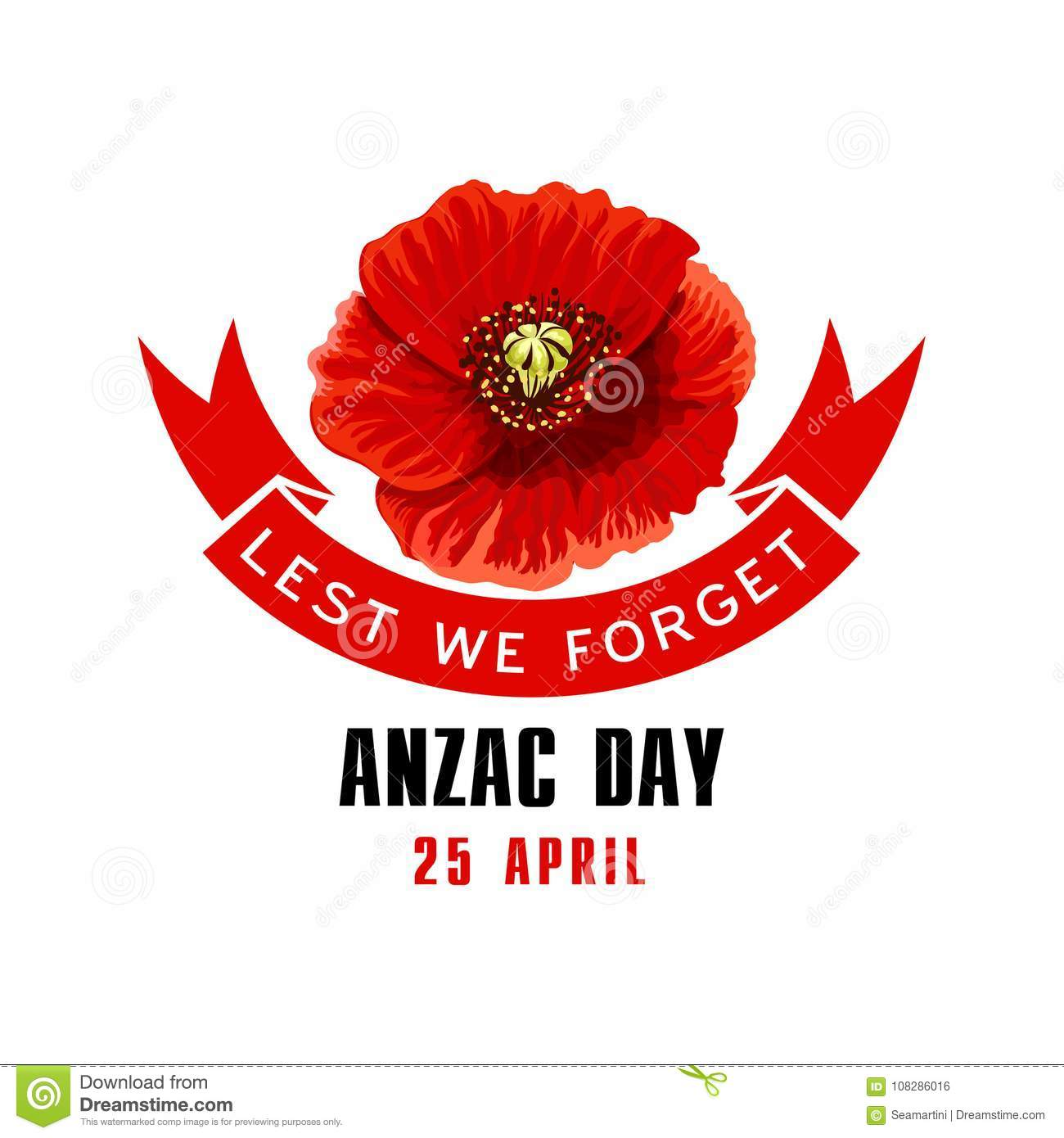 Anzac Day Lest We Forget Card With Poppy Flower Stock Vector