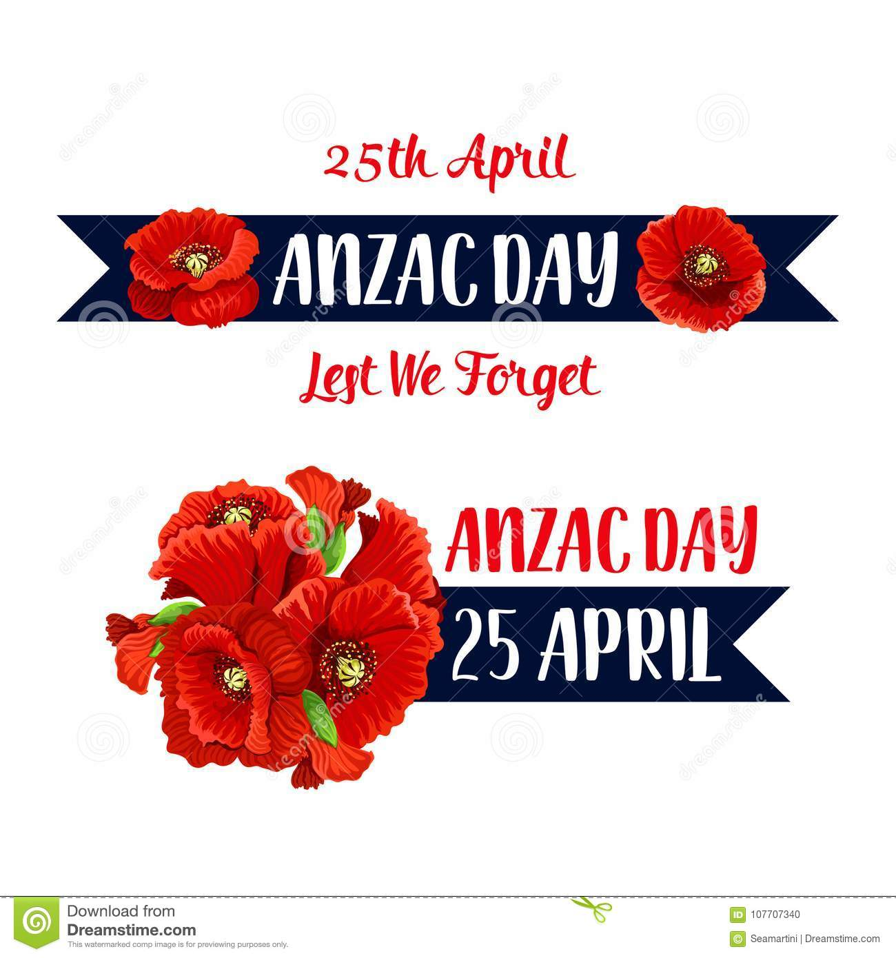 Anzac Day 25 April Poppy Bunch Vector Icon Stock Vector