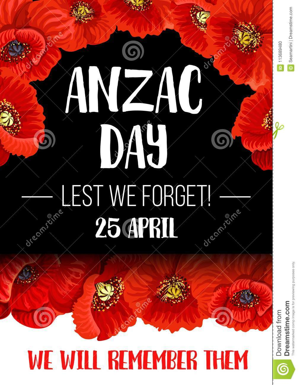 Anzac Remembrance Day Red Poppy Flower Banner Stock Vector