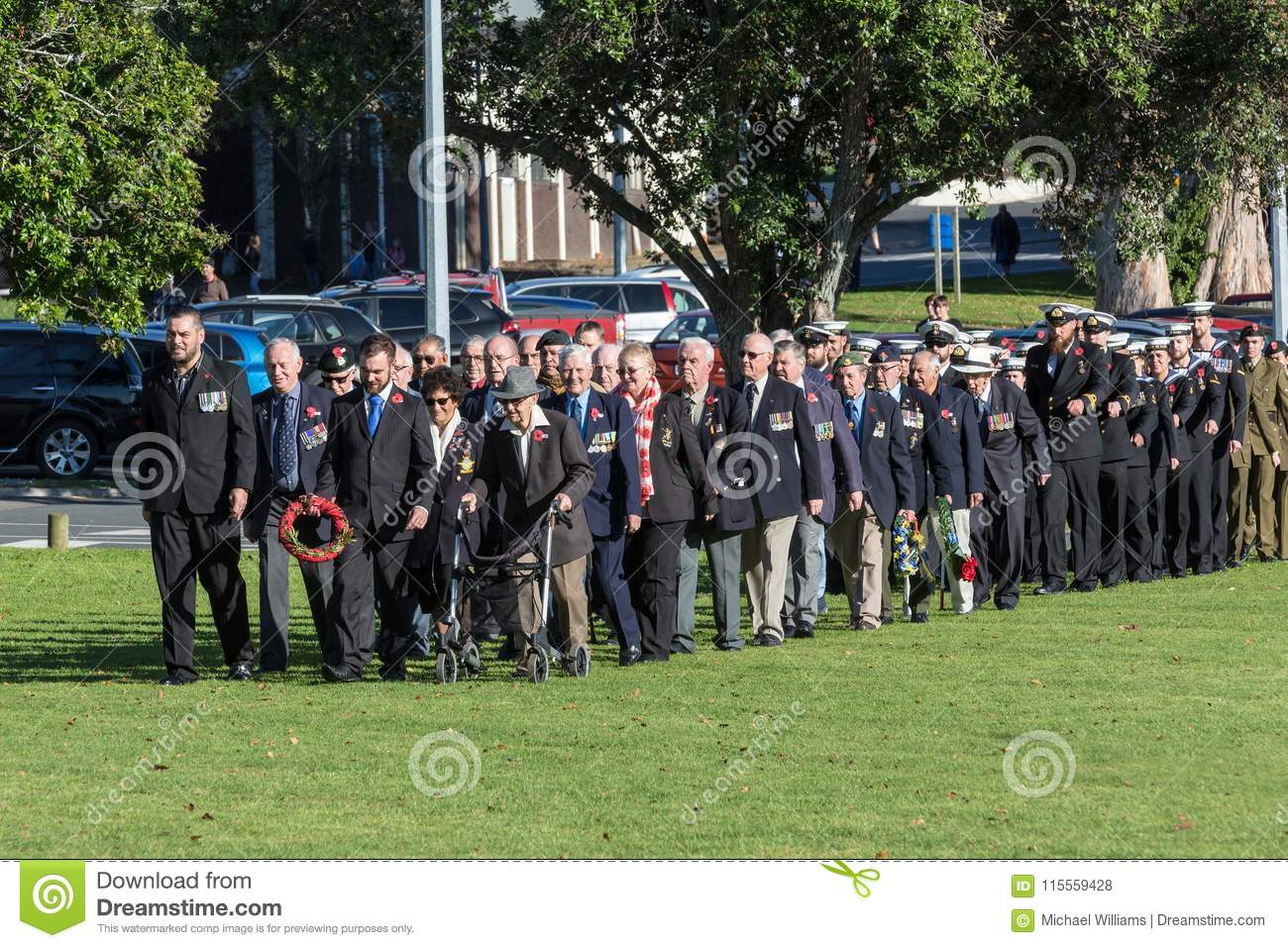 Anzac Day 2018, Tauranga, New Zealand. Veterans and members of the army and navy