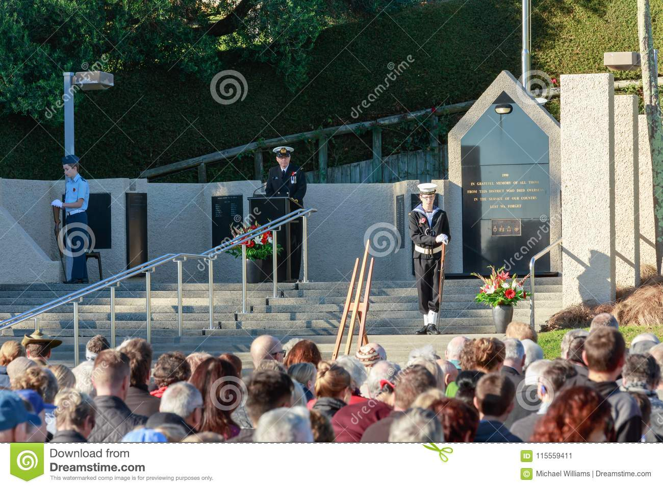 Anzac Day 2018, Tauranga NZ. A speaker from the navy at Memorial Park.