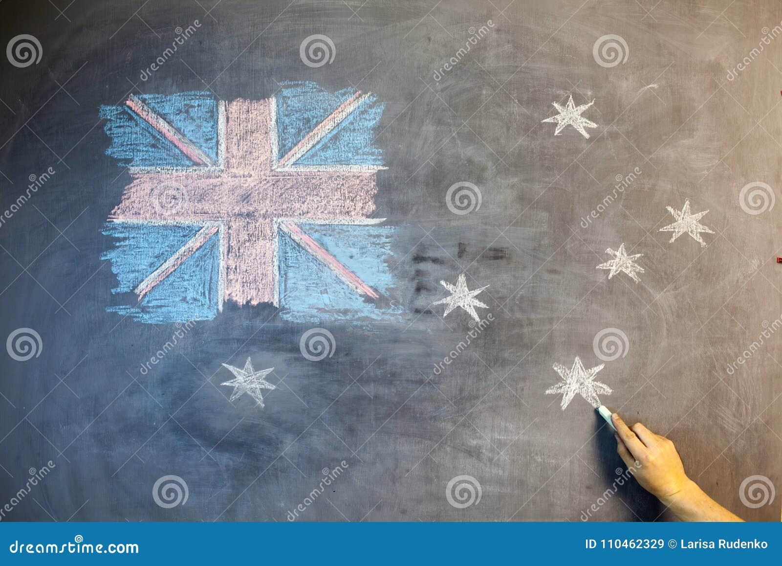 ANZAC Day text klippte ut över fotoet av den australiska flaggan