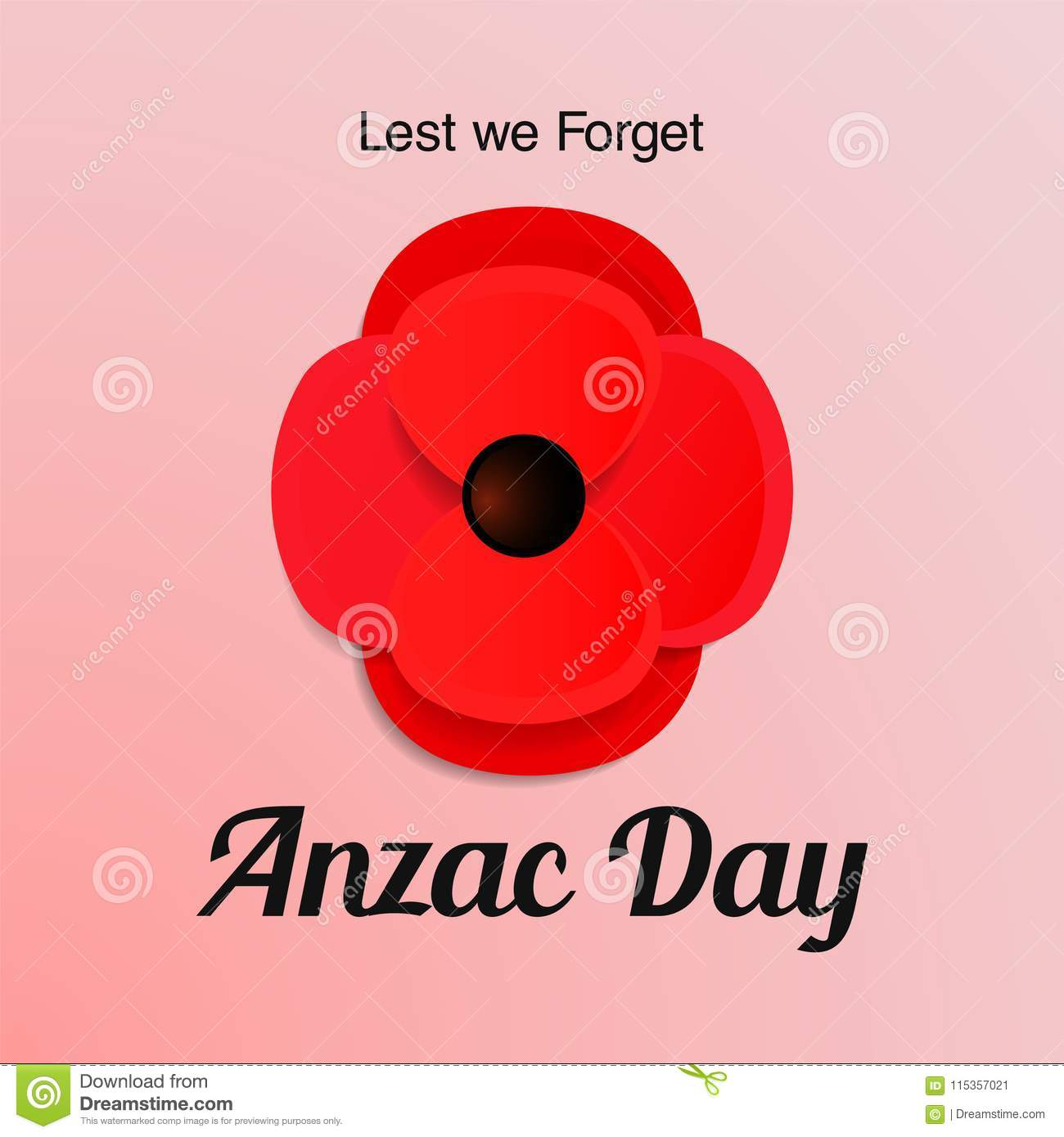 Anzac day vector card paper cut red poppy flower stock vector anzac day vector card paper cut red poppy flower mightylinksfo