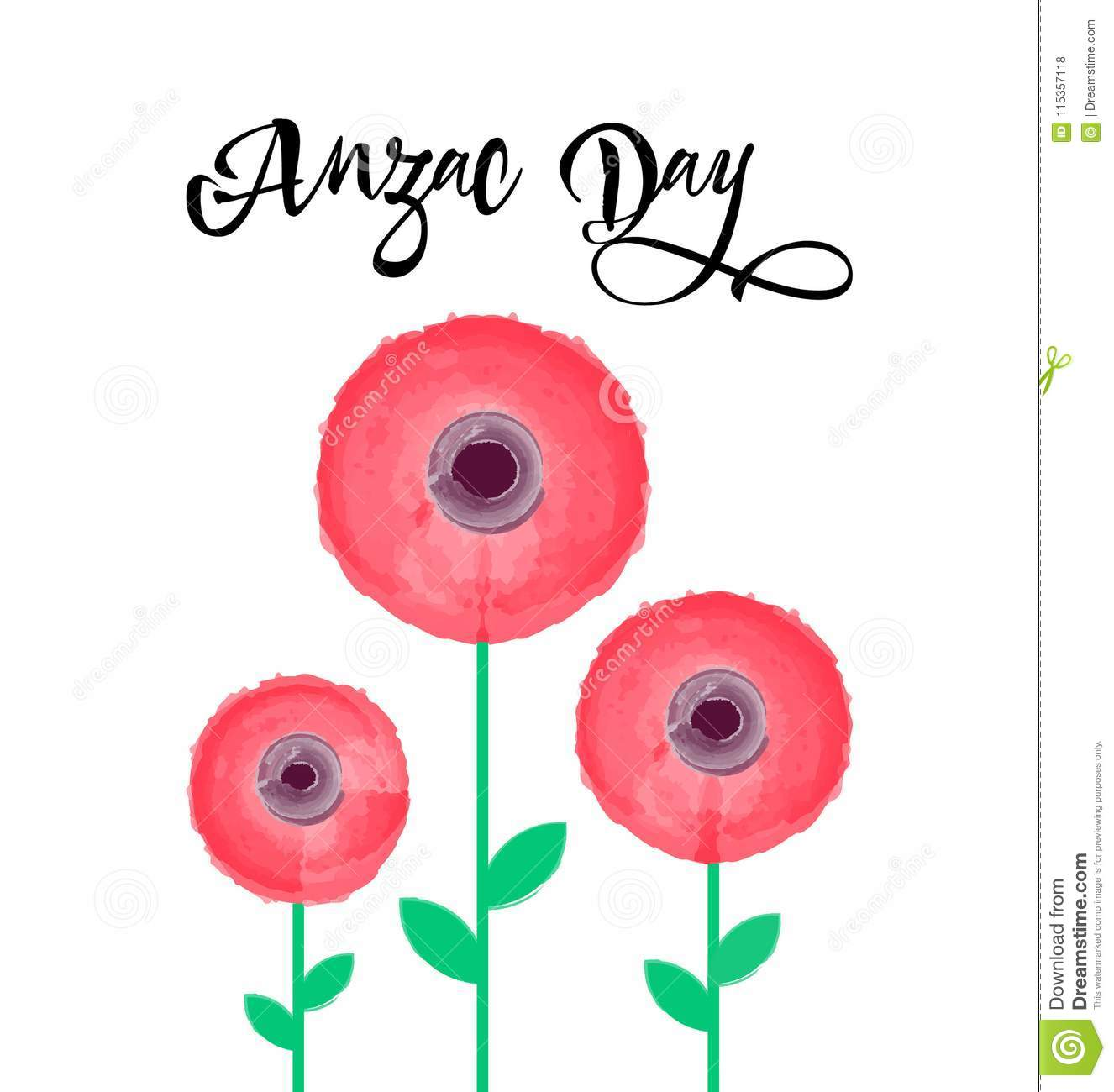 Anzac Day Vector Card 25th Of April Stock Vector Illustration Of