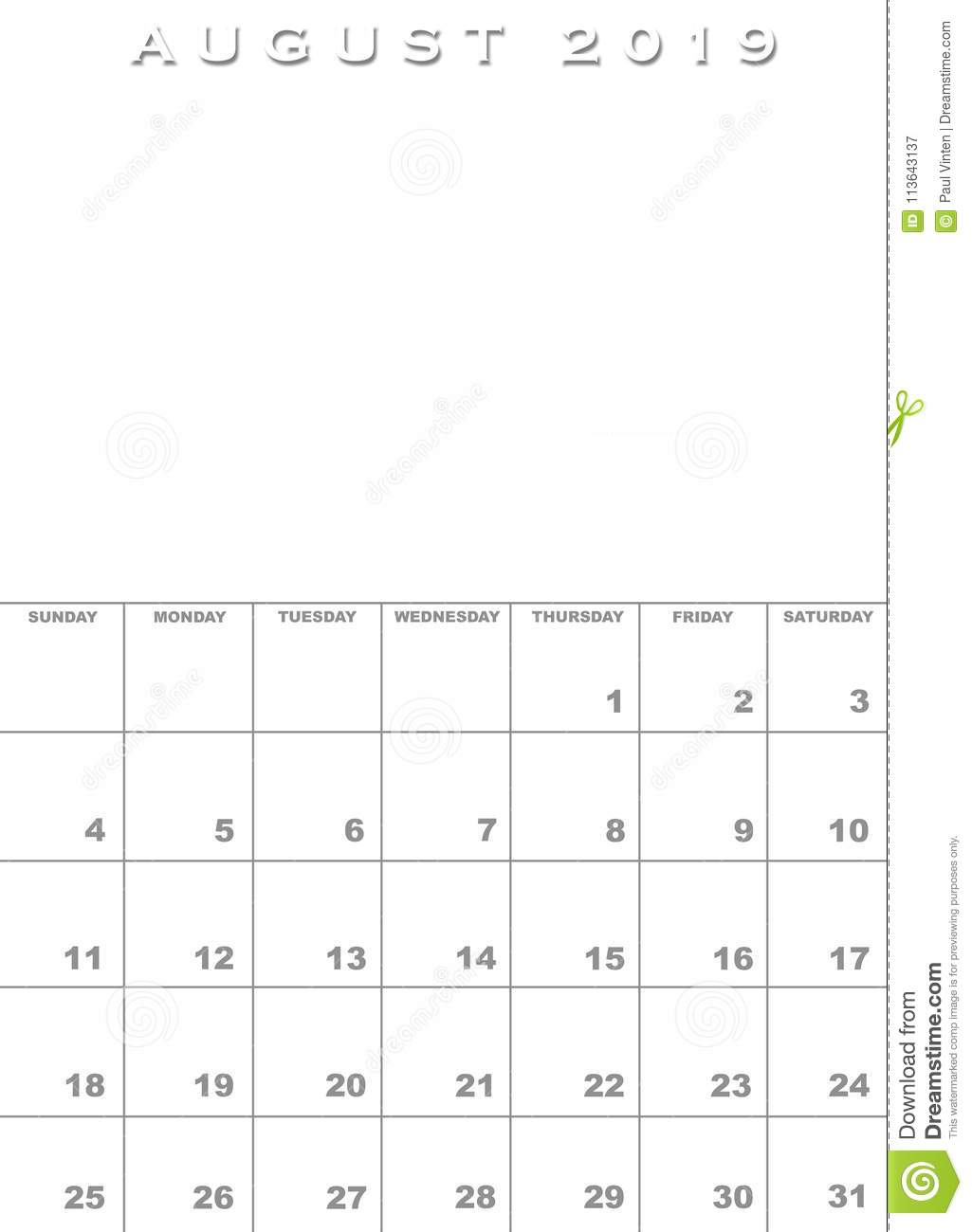 Calendrier Aout2019.Aout 2019 Calibre De Calendrier Illustration Stock
