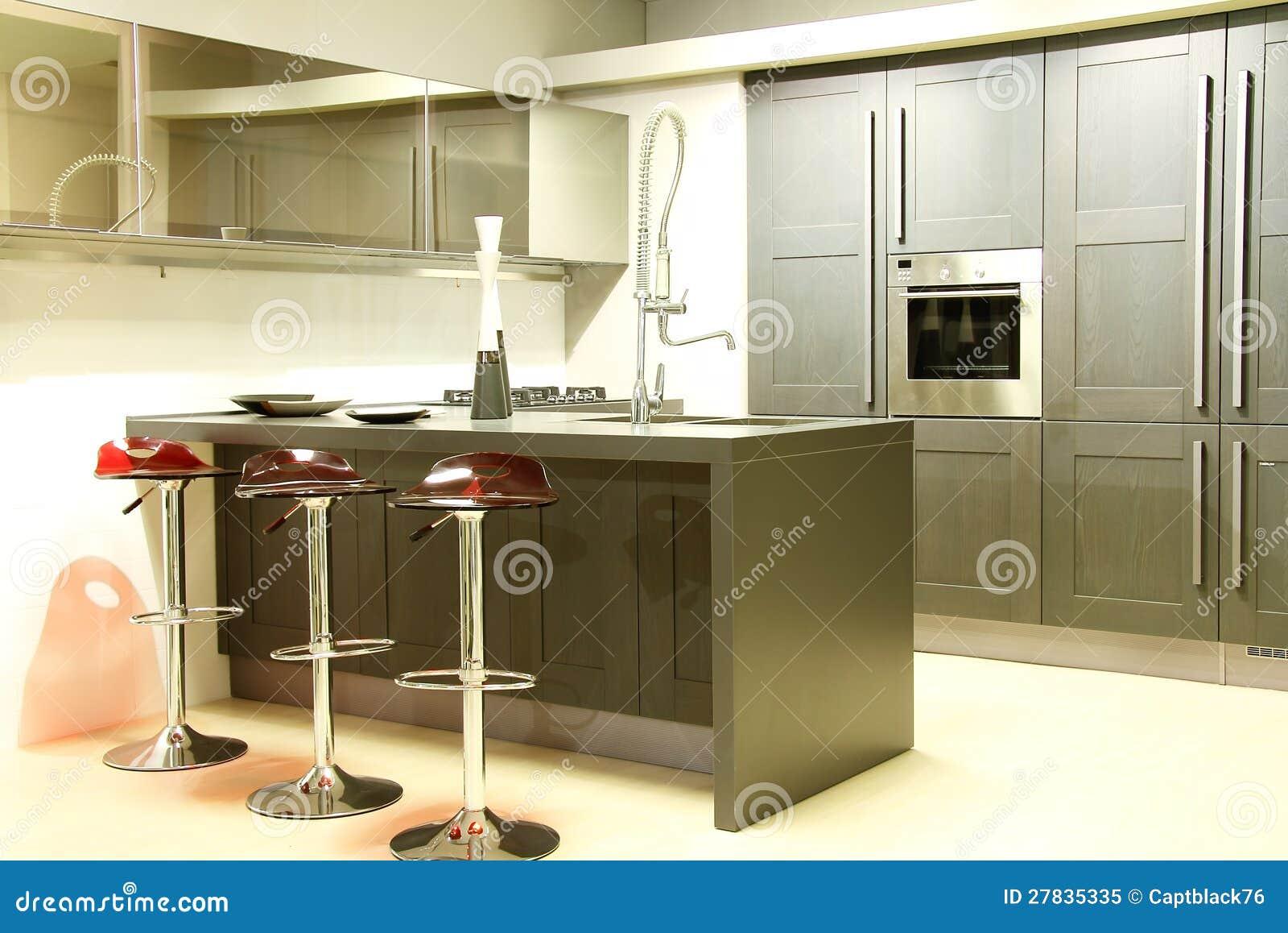 #85A724 Aço moderno e cozinha dissipador e espelhos cinzentos. Armário de  1300x958 px Planos De Armários De Cozinha_993 Imagens