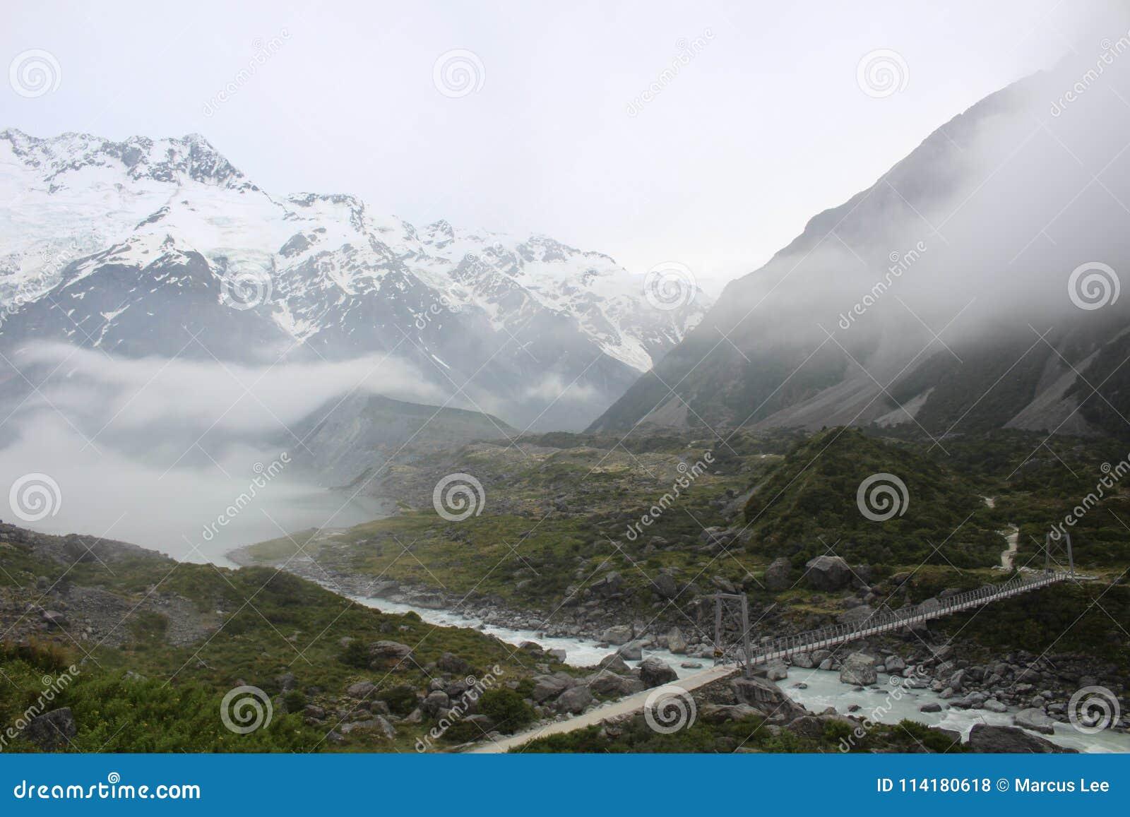 Mt. Cook in mist New Zealand Tasman Glacier View Track
