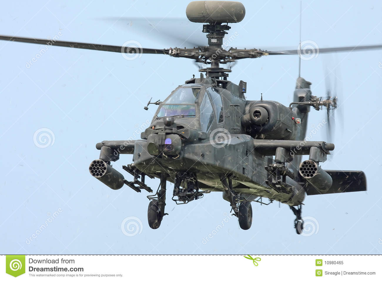 Looking at the front of a hovering Apache Longbow helicopter Apache Longbow Helicopter
