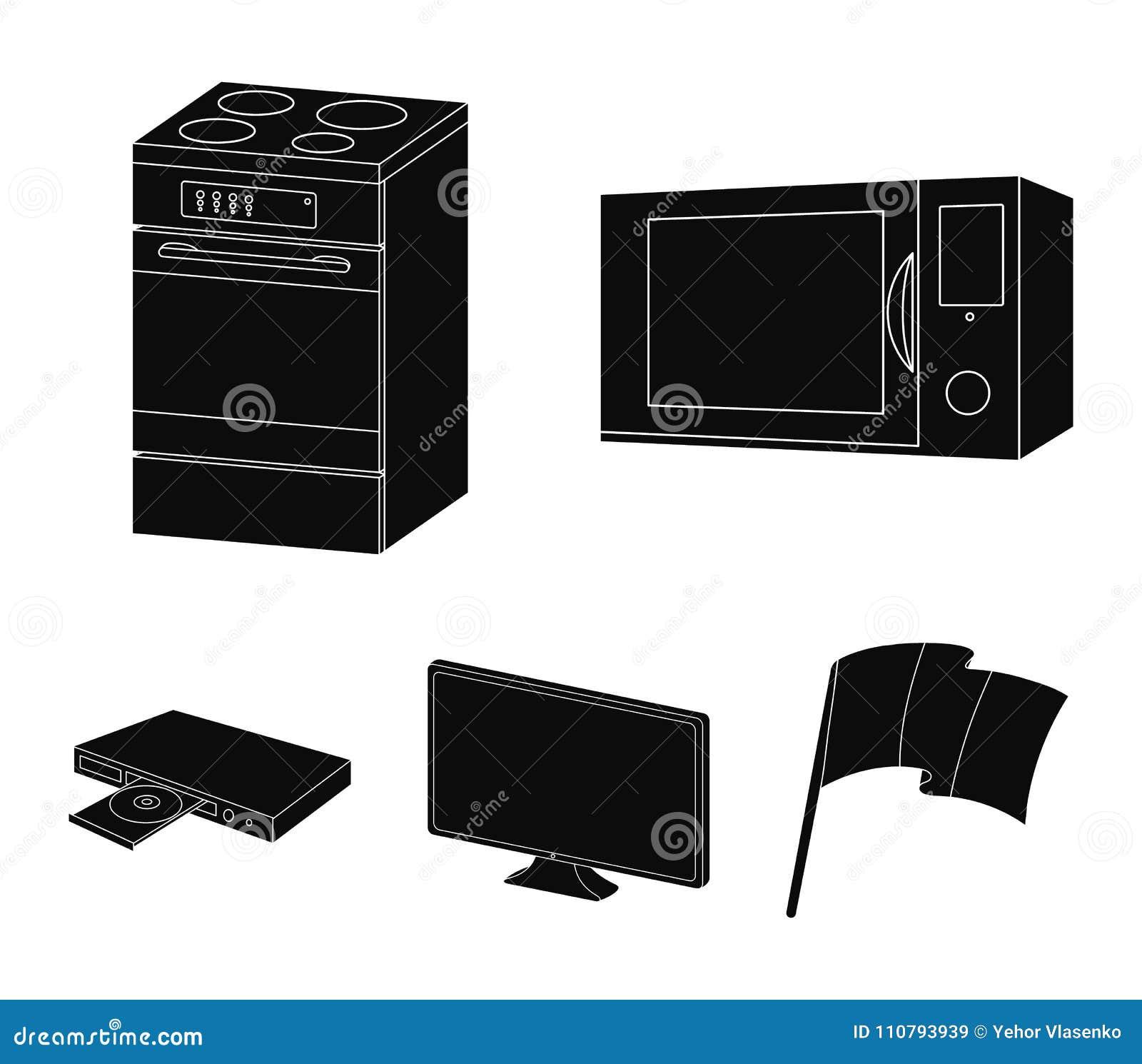 Aparatos Electrodomesticos E Iconos Negros Del Equipo En La - Electrodomesticos-negros
