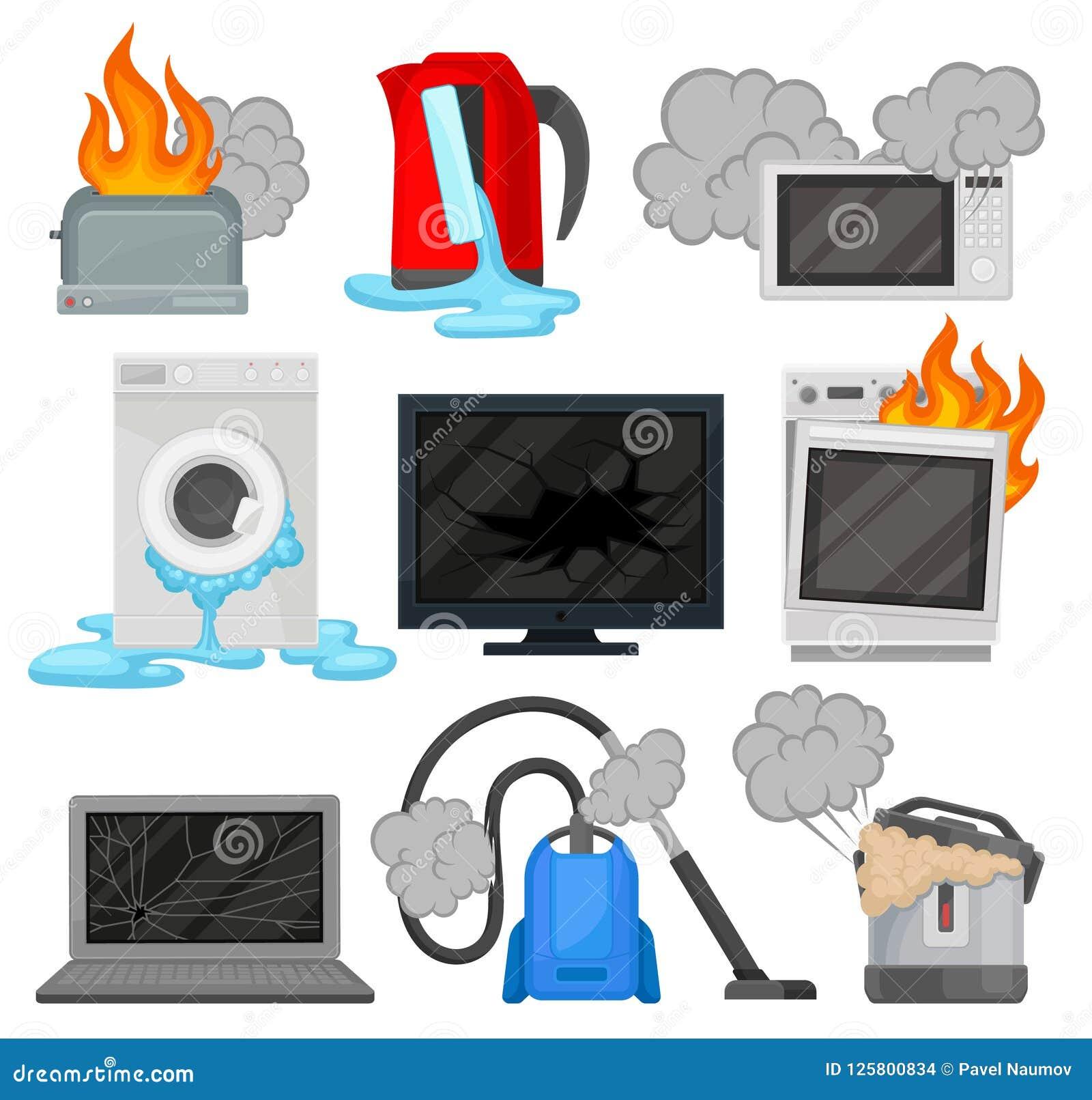 Aparatos electrodomésticos quebrados fijados, ejemplos eléctricos dañados del vector del equipo de hogar en un fondo blanco