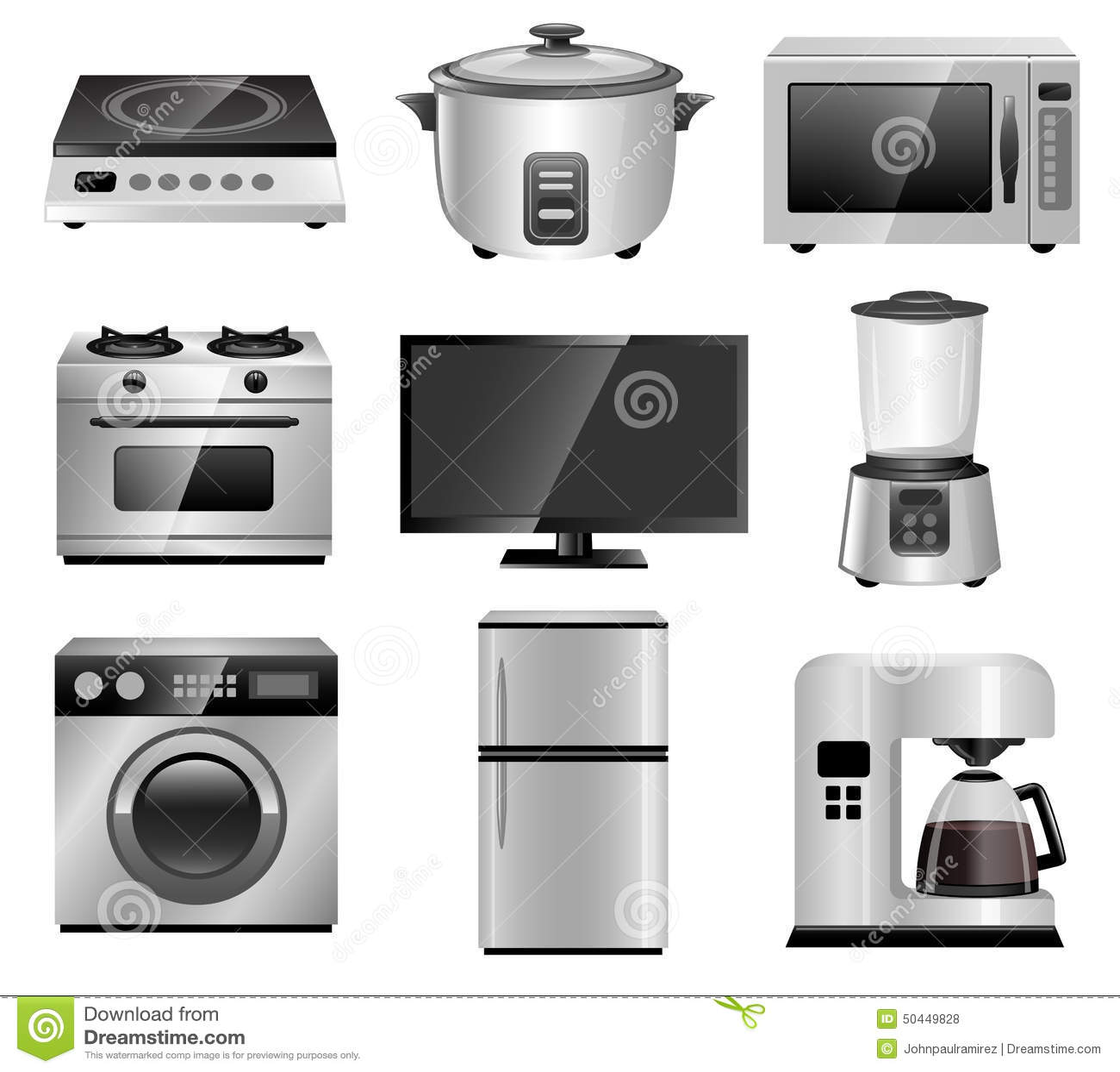 Aparatos electrodom sticos equipos de hogar ilustraci n - Electrodomesticos la casa ...