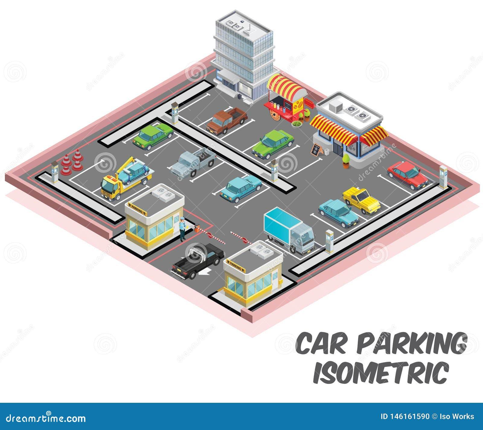 Aparcamiento, donde están concepto muchos coches isométrico parqueado de las ilustraciones