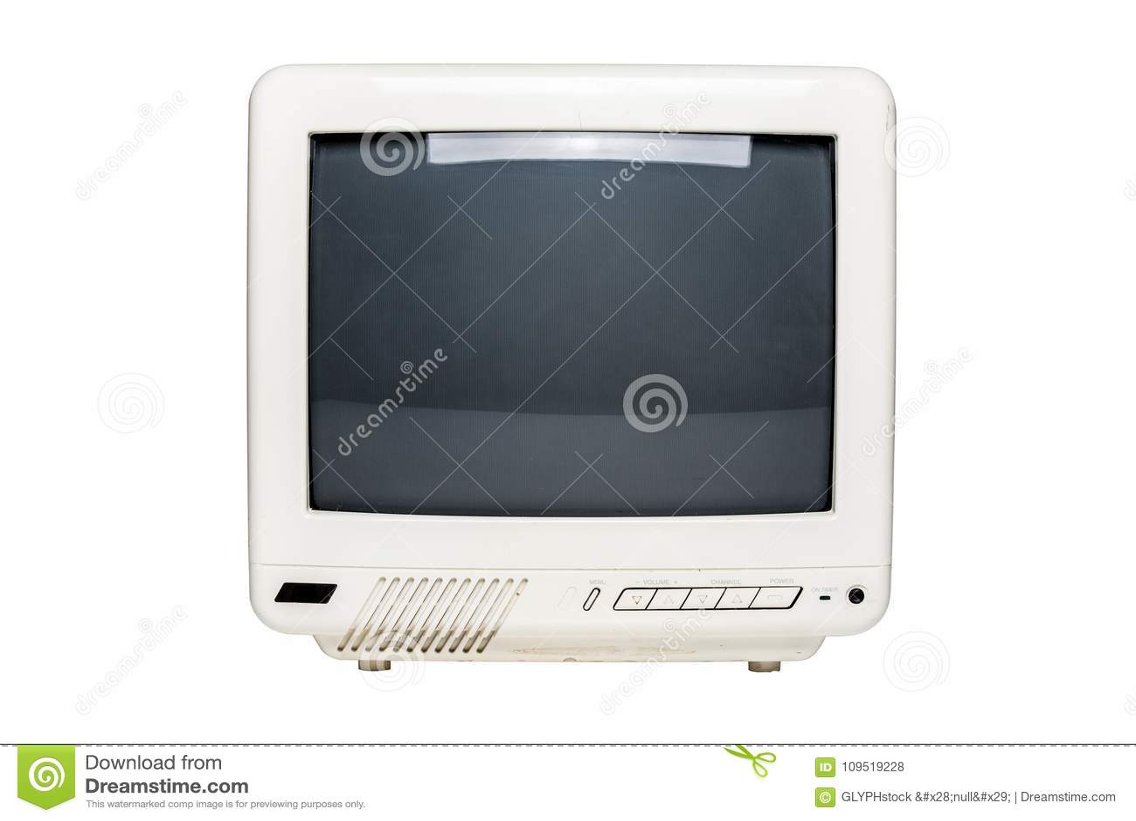 Aparelho de televisão pequeno do vintage com tela vazia