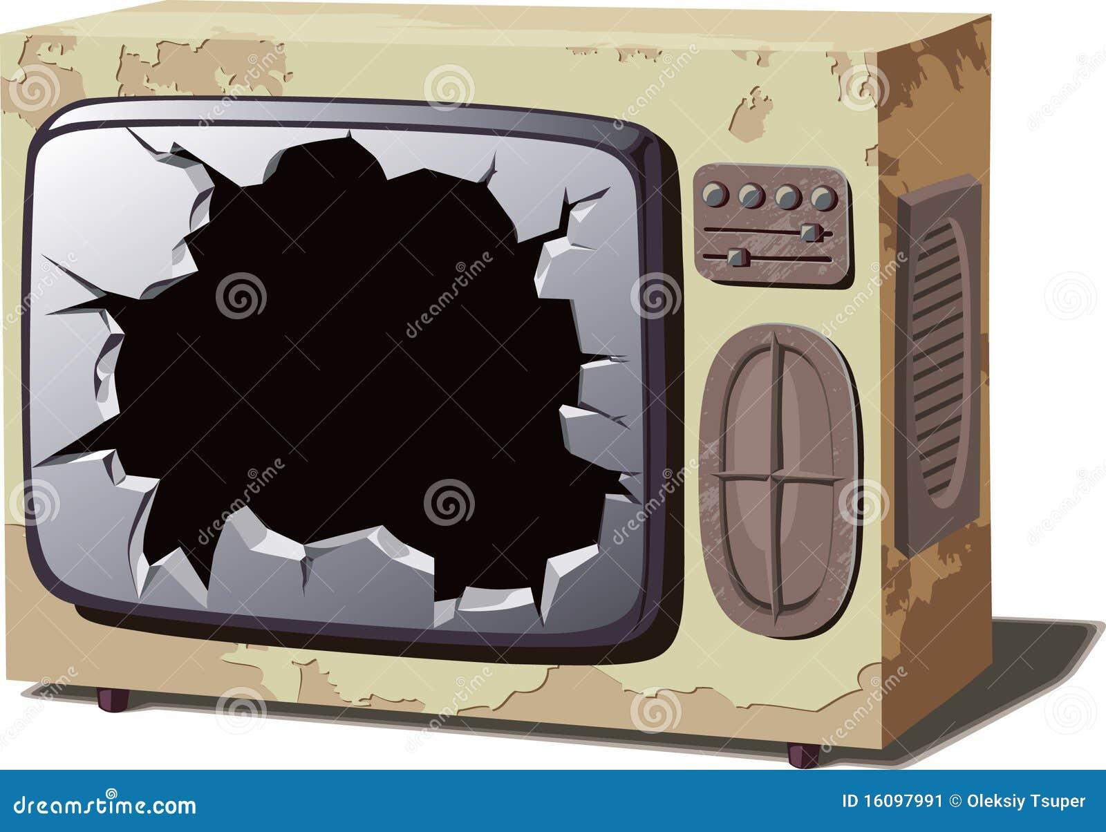 Aparelho de televisão quebrado velho