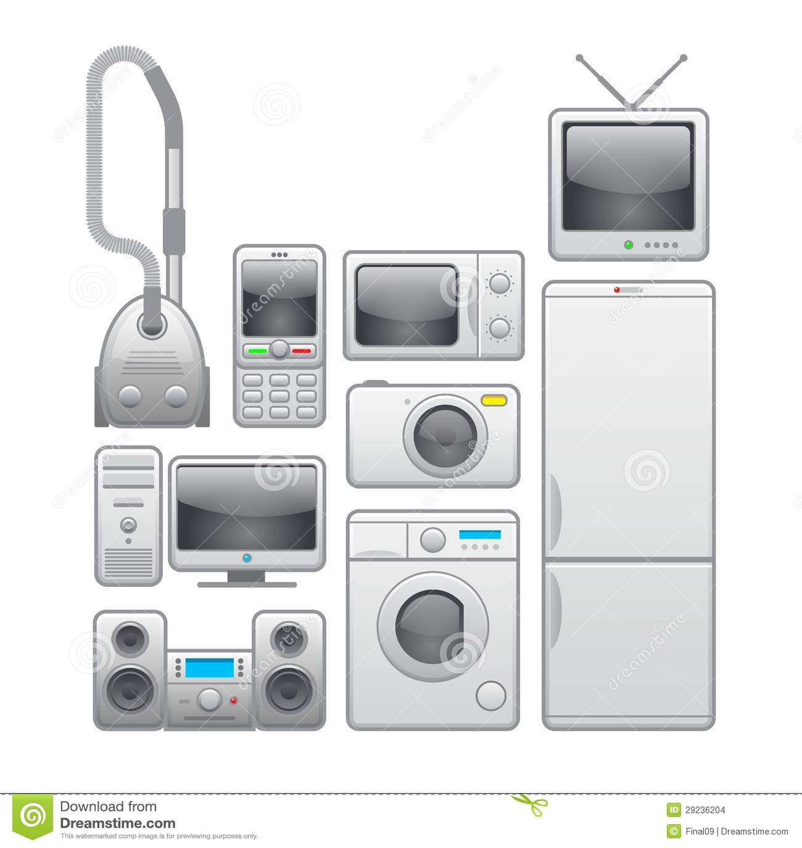Download Aparelhos Electrodomésticos. Grupo Do ícone Do Vetor Ilustração do Vetor - Ilustração de clock, microfone: 29236204