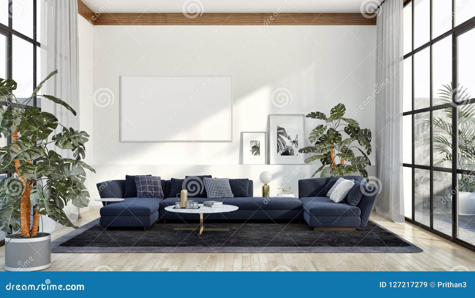 Apartamento brillante moderno de los interiores con mofa encima del illu del marco del cartel